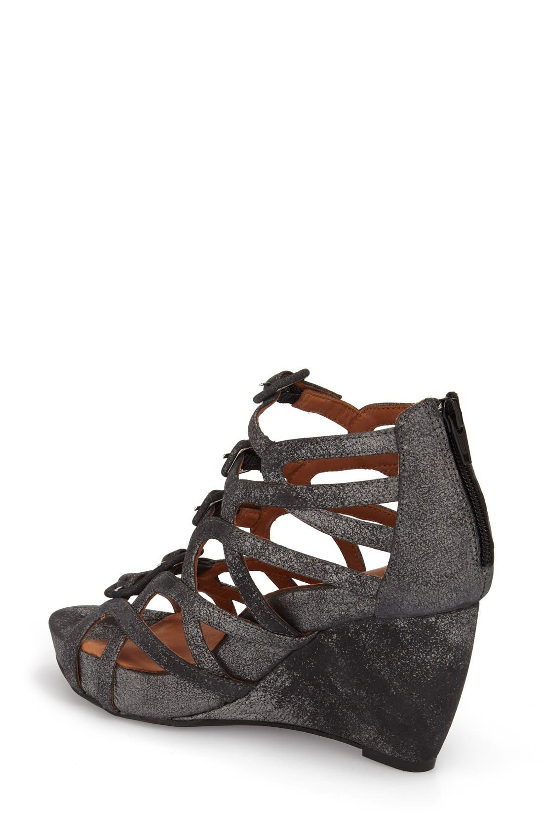 Ivanna' Gladiator Wedge Sandal,                             Alternate thumbnail 2, color,                             Graphite Leather