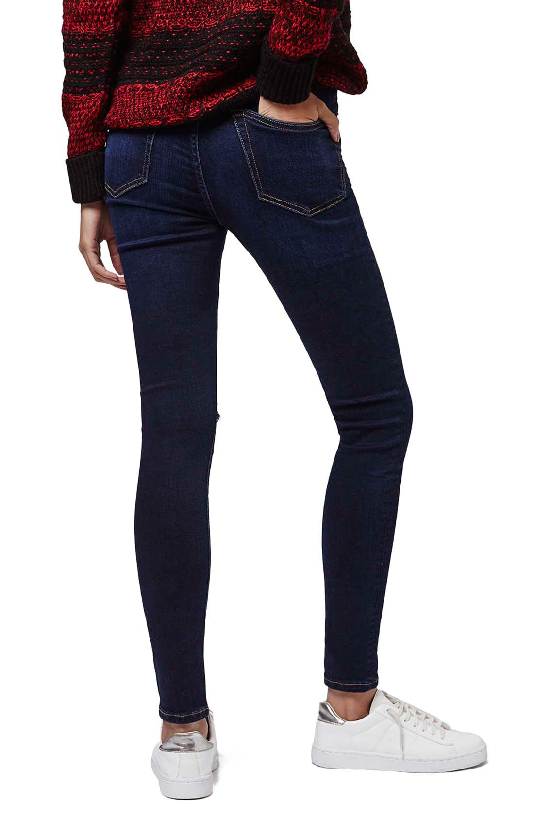 Alternate Image 3  - Topshop Moto 'Jamie' Ripped Skinny Jeans (Navy Blue)