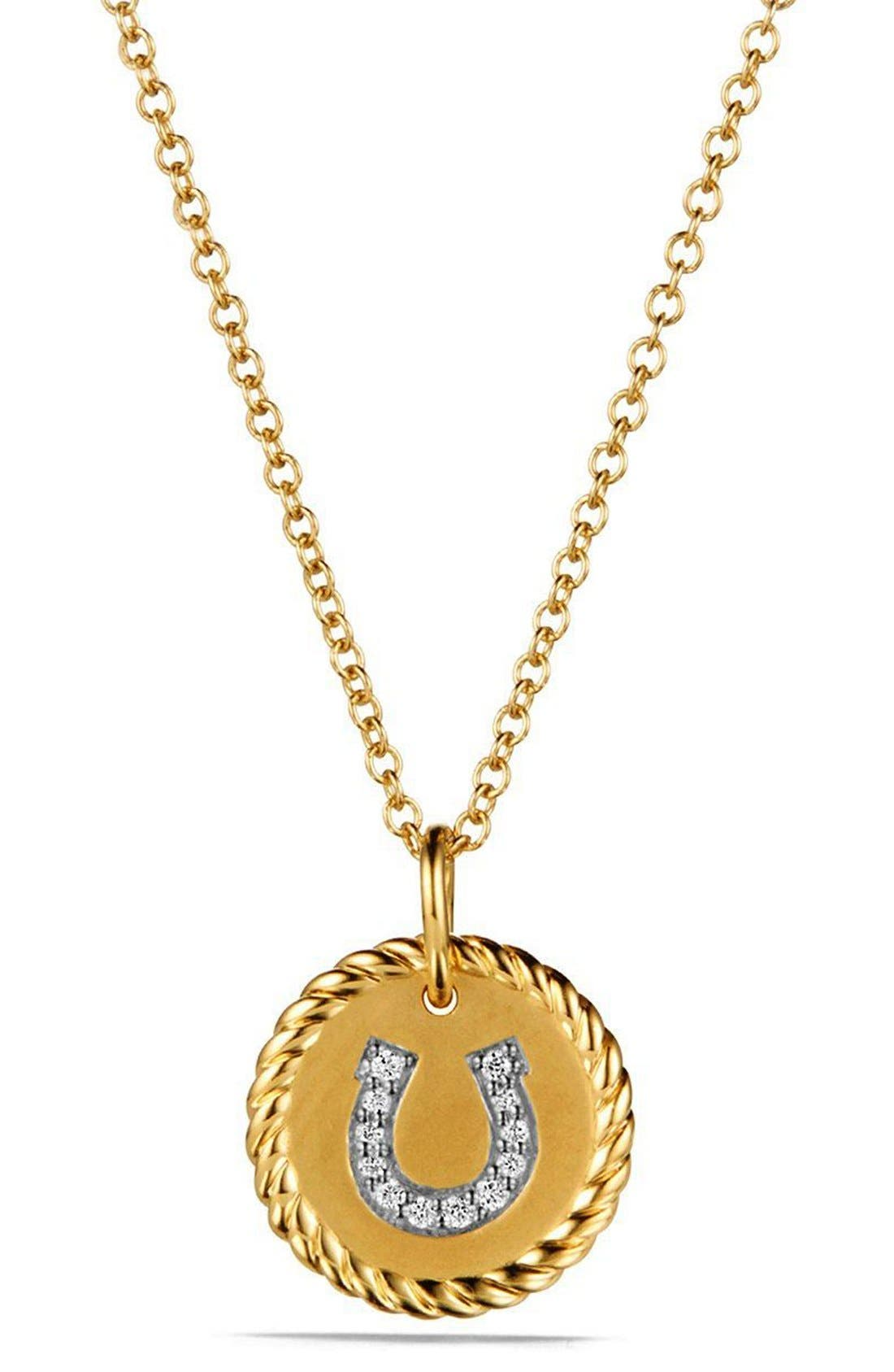 'Cable Collectibles' Horseshoe Charm Necklace with Diamonds in Gold,                         Main,                         color, Gold