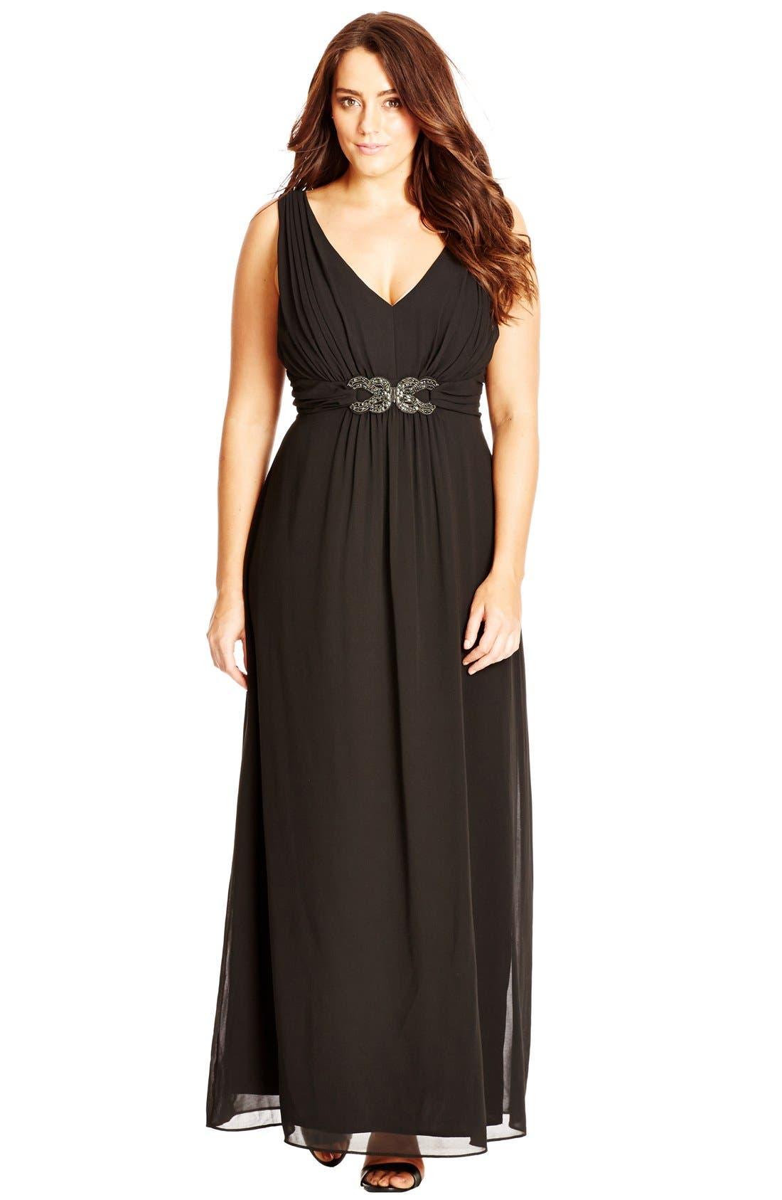 'Elegant Sparkle' Embellished Maxi Dress,                             Alternate thumbnail 2, color,                             Black