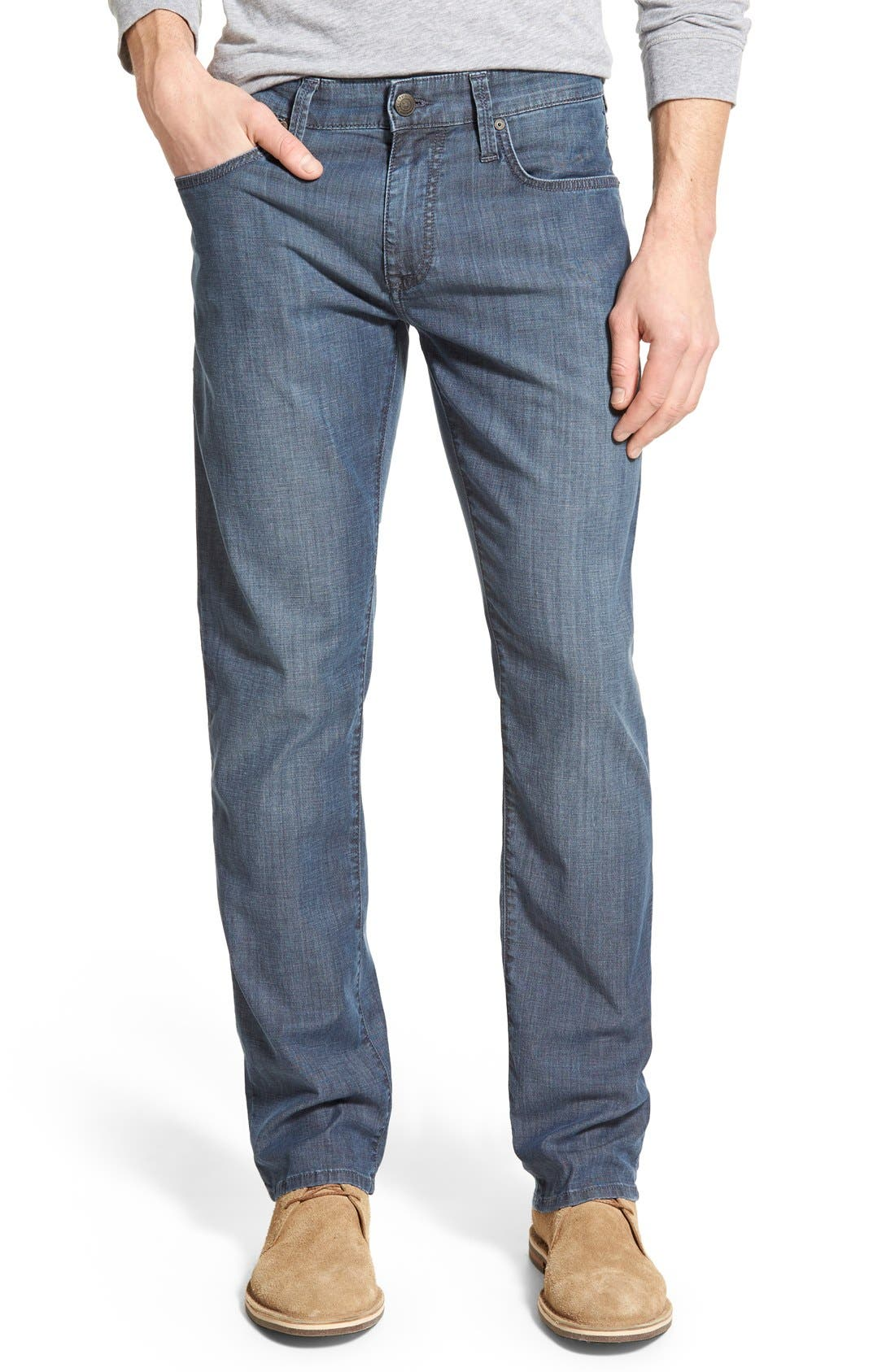 'Zach' Straight Leg Jeans,                         Main,                         color, Chambray