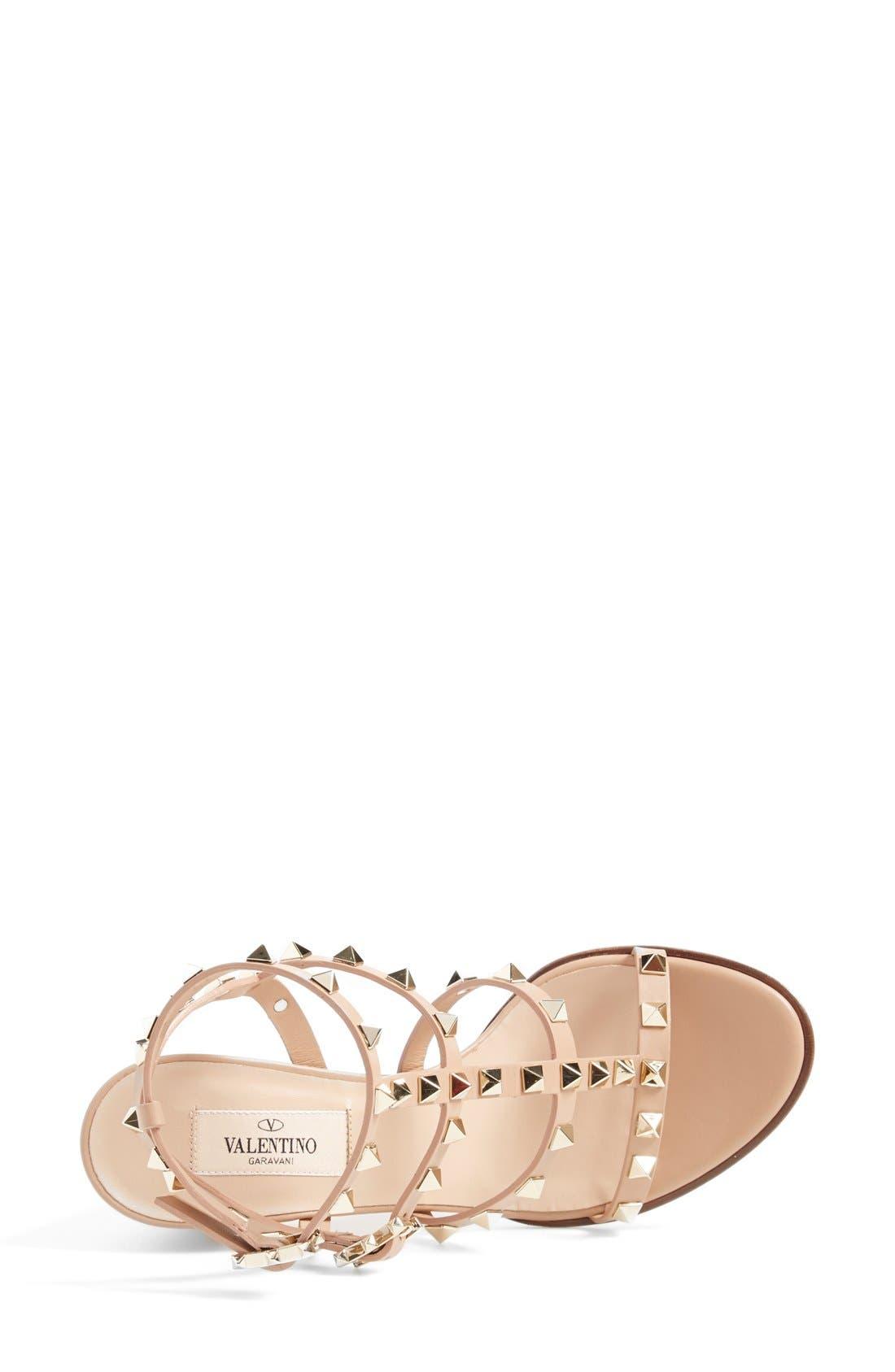 'Rockstud' T-Strap Sandal,                             Alternate thumbnail 4, color,                             Beige Leather