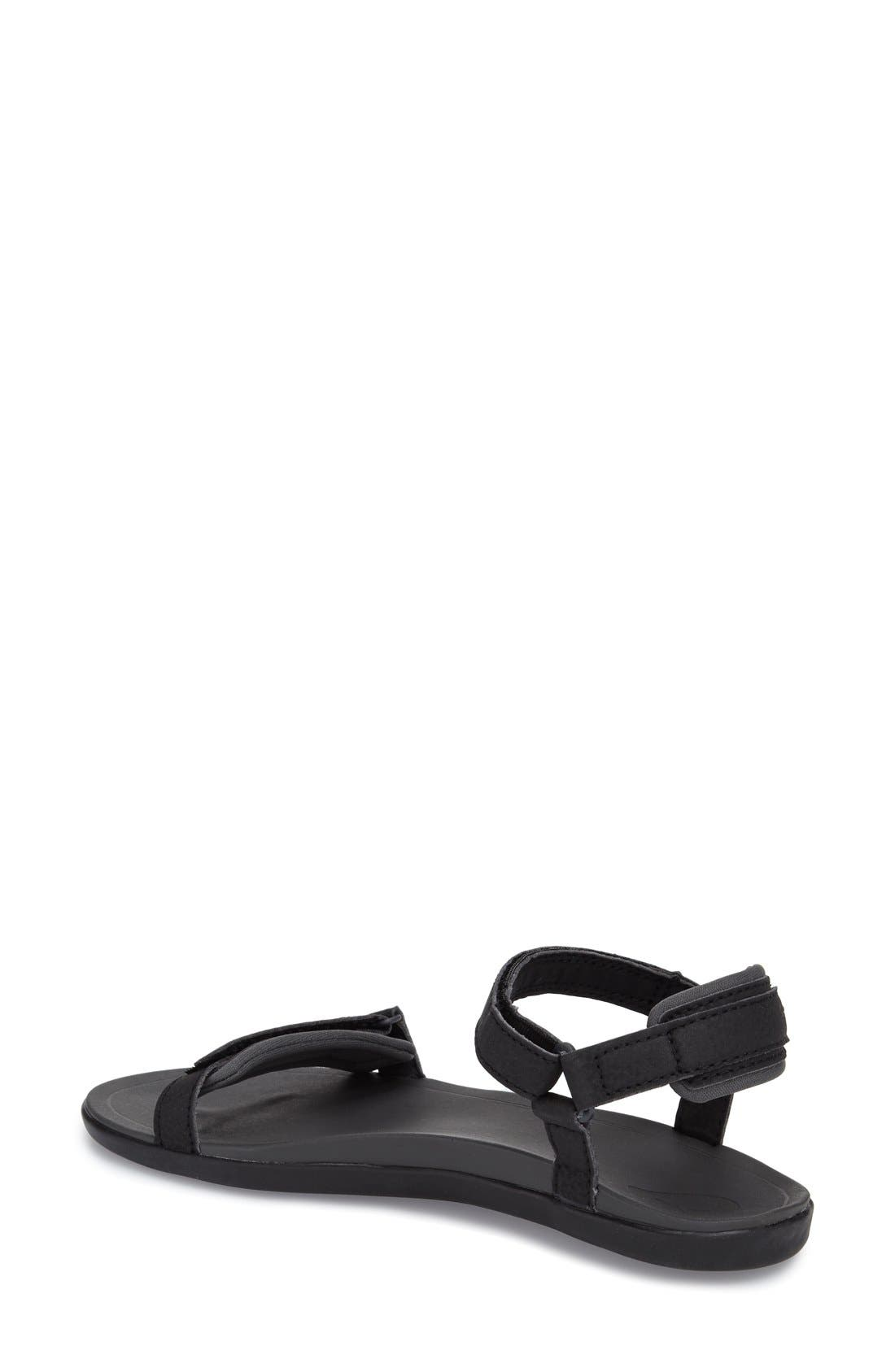 'Luana' Sandal,                             Alternate thumbnail 2, color,                             Black Faux Leather
