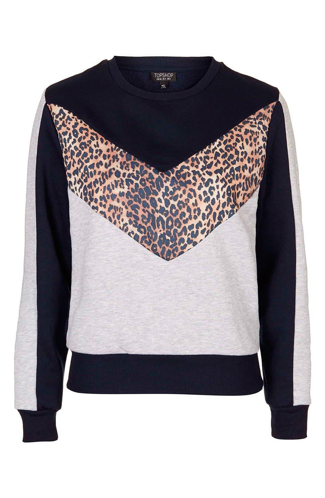Alternate Image 4  - Topshop Leopard Print Colorblock Sweatshirt (Regular & Petite)