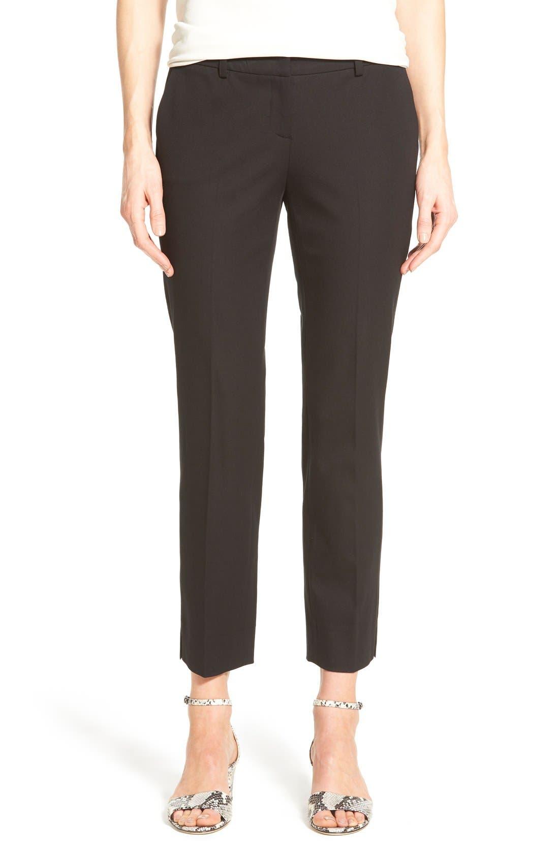 Crop Stretch Cotton Pants,                         Main,                         color, Black