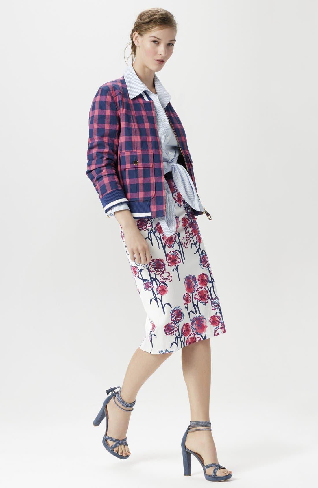 Alternate Image 6  - Tanya Taylor Textured Garden Print Pencil Skirt