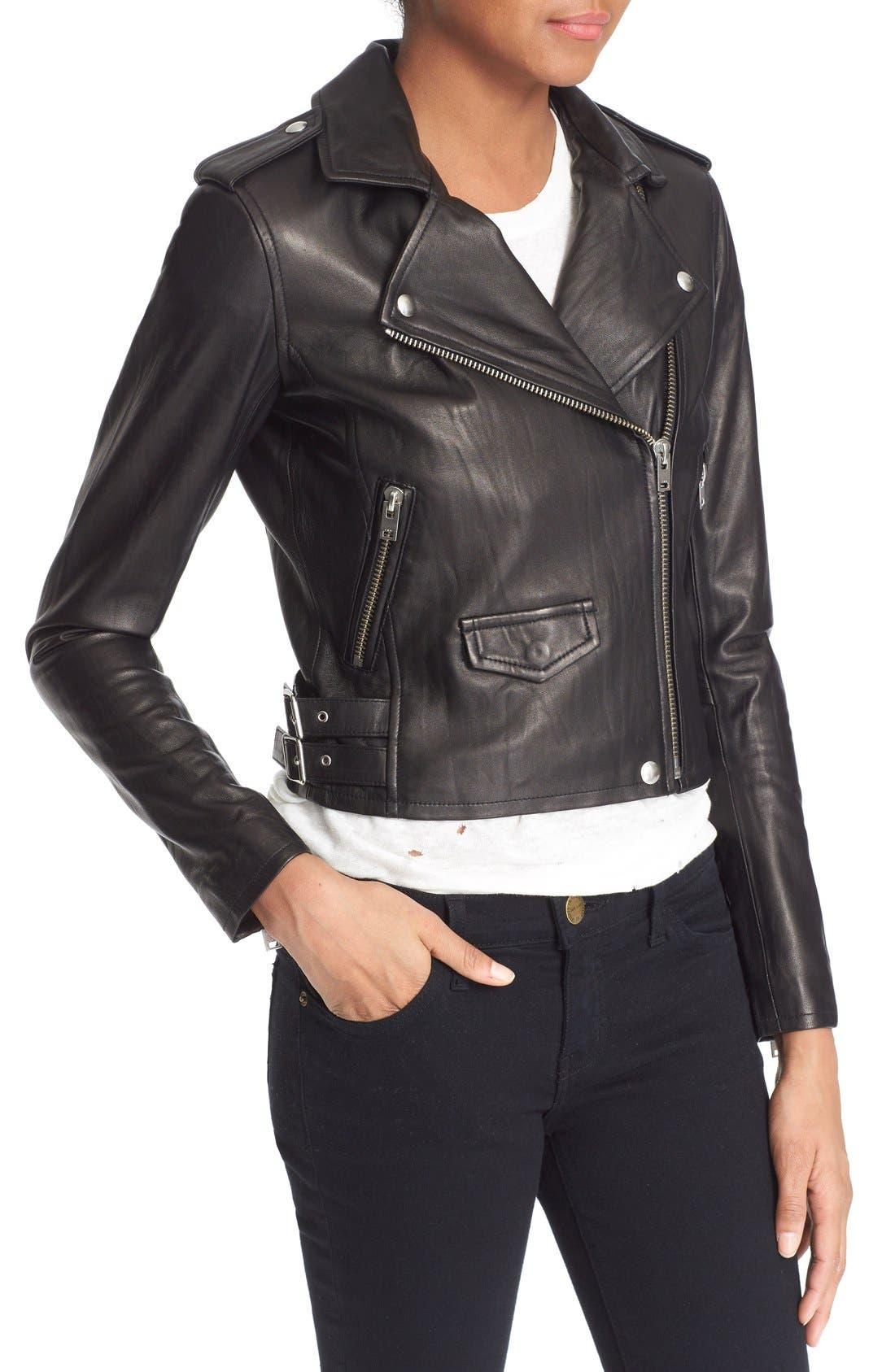 'Ashville' Leather Jacket,                             Alternate thumbnail 4, color,                             Black