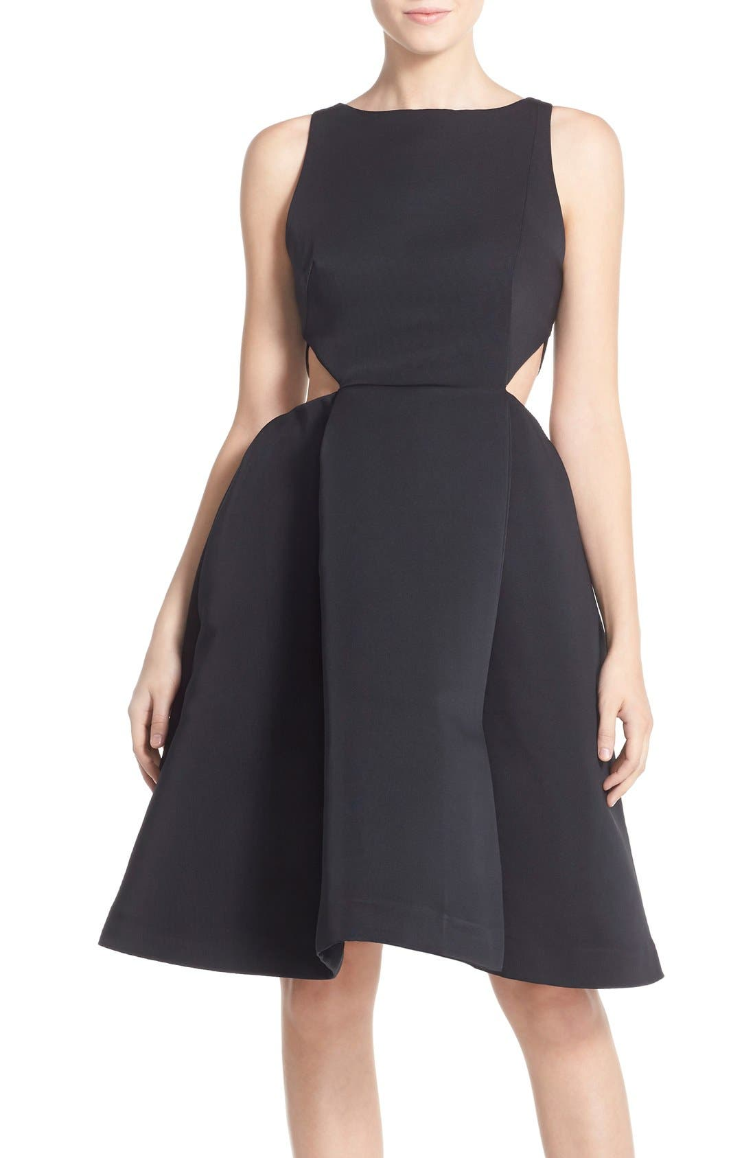 Main Image - Halston Heritage Side Cutout Bateau Neck Satin Faille Fit & Flare Dress