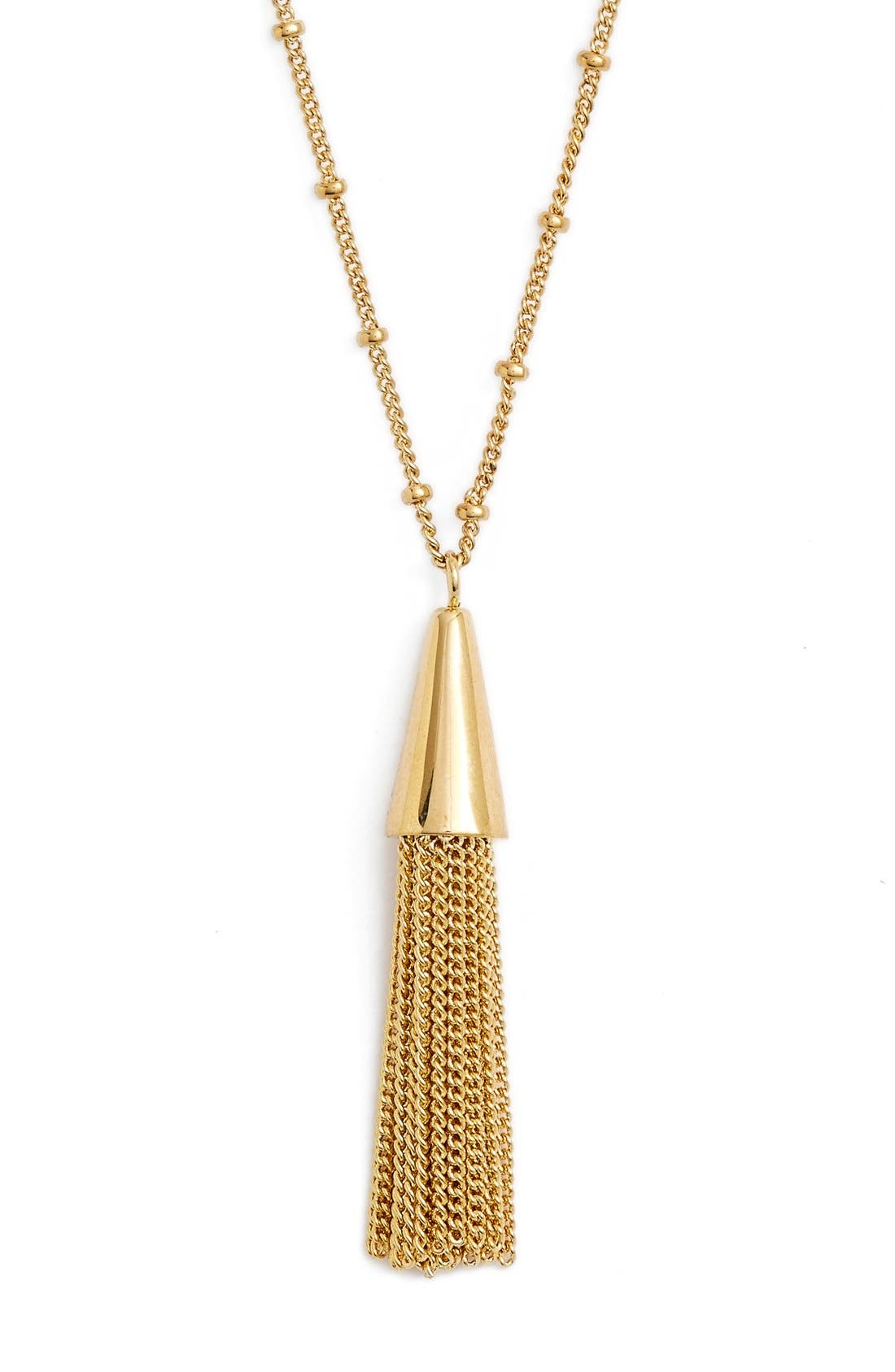 Small Chain Tassel Pendant Necklace,                             Main thumbnail 1, color,                             Shiny Gold