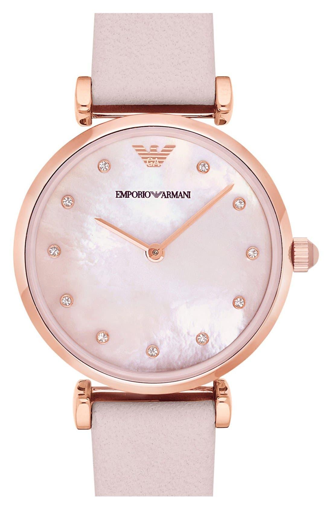 Main Image - Emporio Armani Leather Strap Watch, 32mm