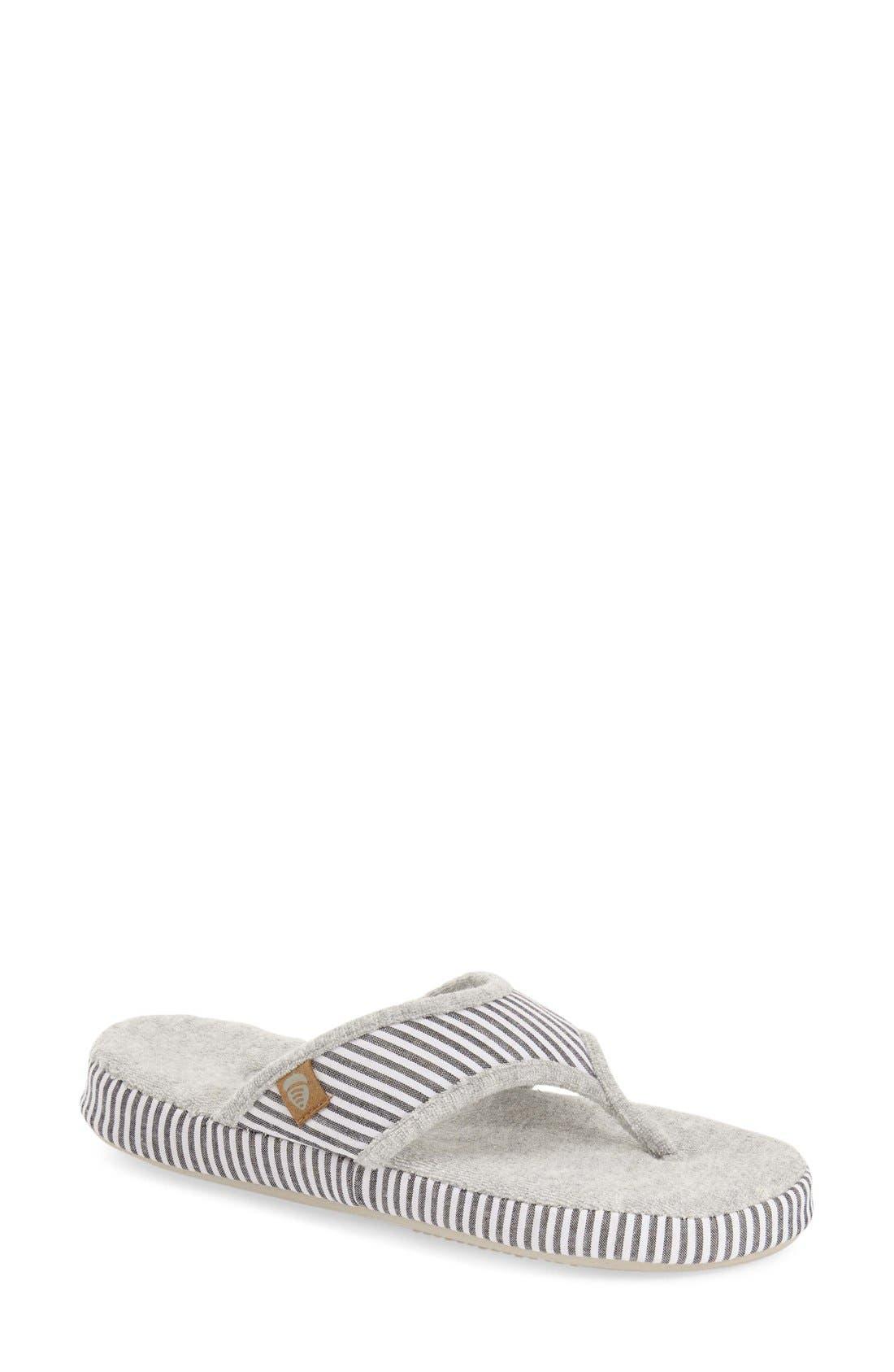 'Summerweight' Slipper,                         Main,                         color, Grey Strip Fabric