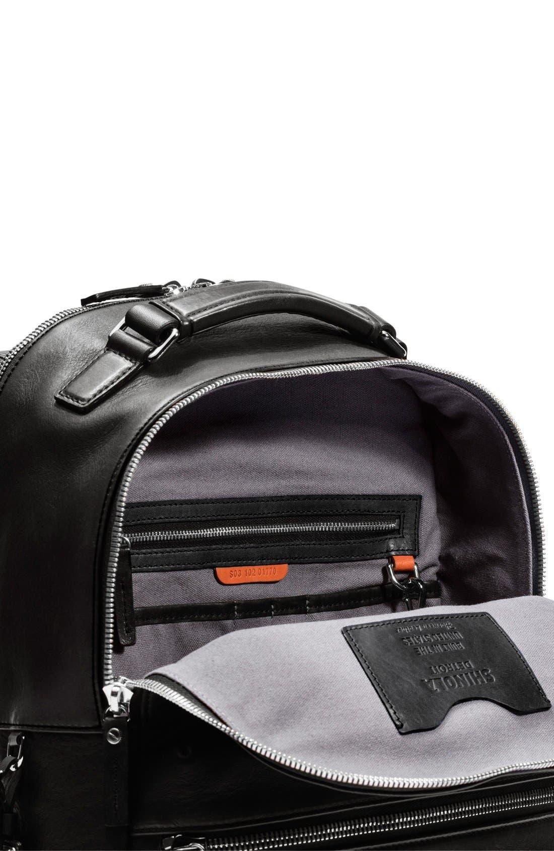 Runwell Leather Laptop Backpack,                             Alternate thumbnail 9, color,                             Black