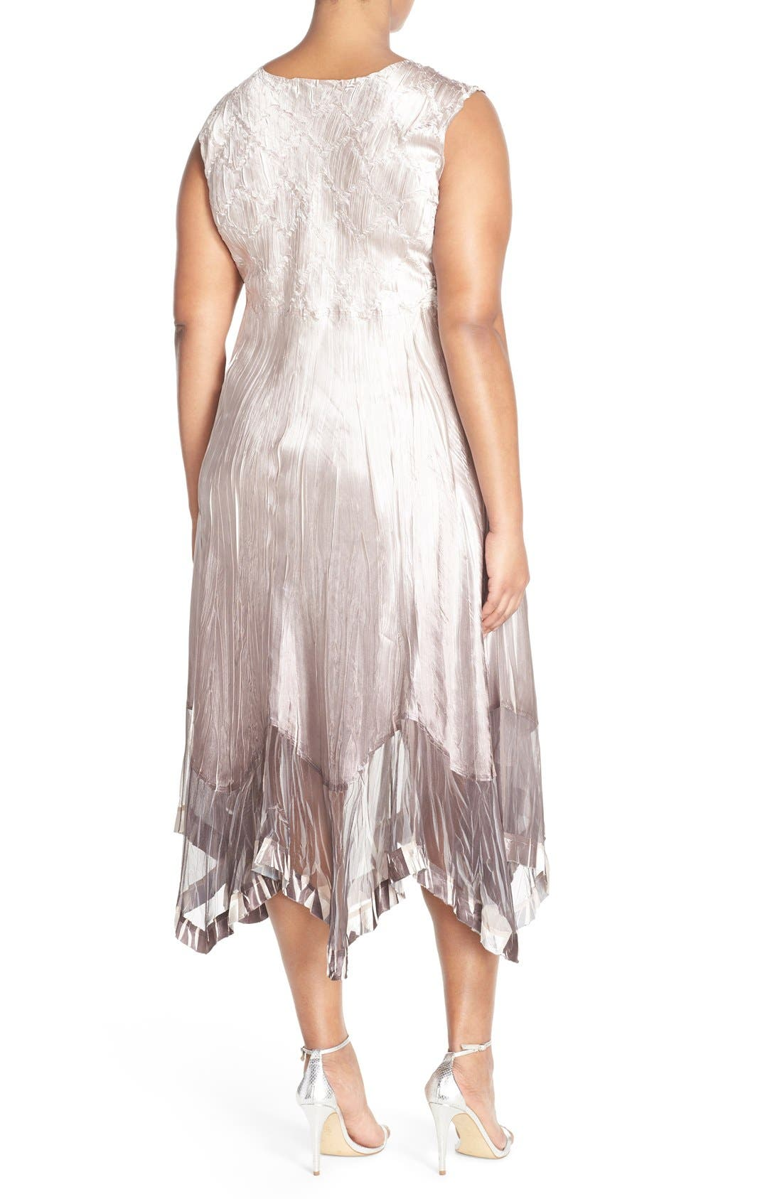 Embellished V-Neck Chiffon & Charmeuse Dress with Jacket,                             Alternate thumbnail 2, color,                             Beach Cafe Ombre
