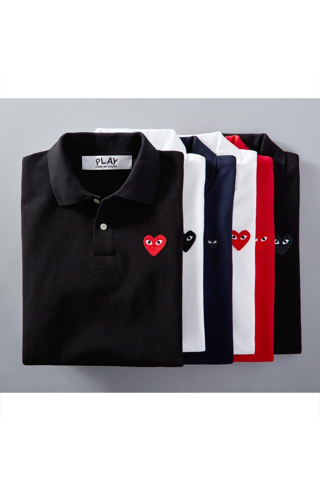 Comme des Garçons PLAY Piqué Polo with Heart Appliqué,                             Alternate thumbnail 4, color,