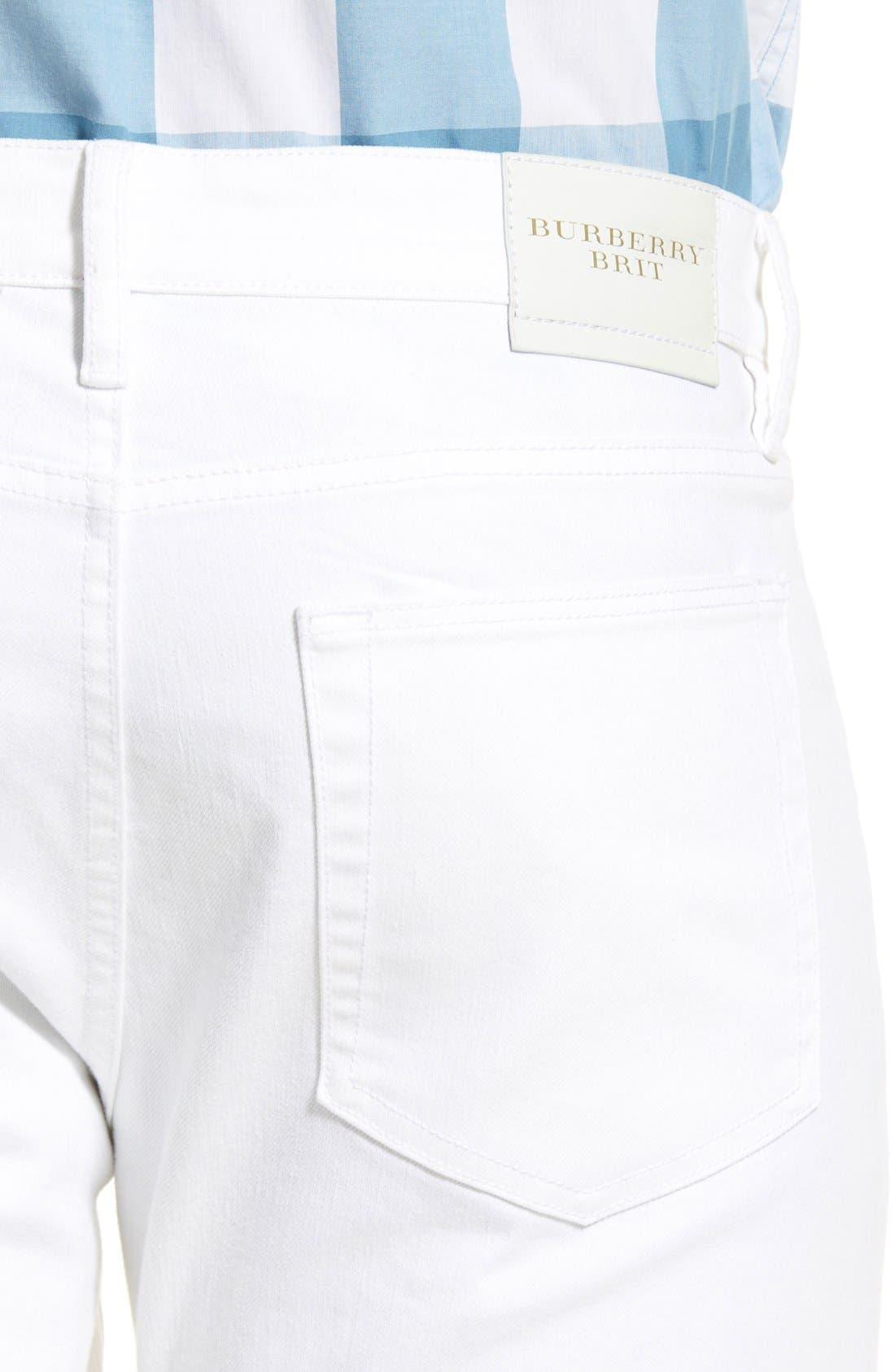 Slim Straight Leg Pants,                             Alternate thumbnail 4, color,                             White