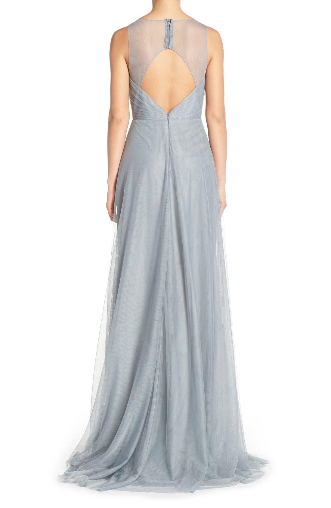 Alternate Image 2  - Monique Lhuillier Bridesmaids Back Cutout Pleat Tulle Gown