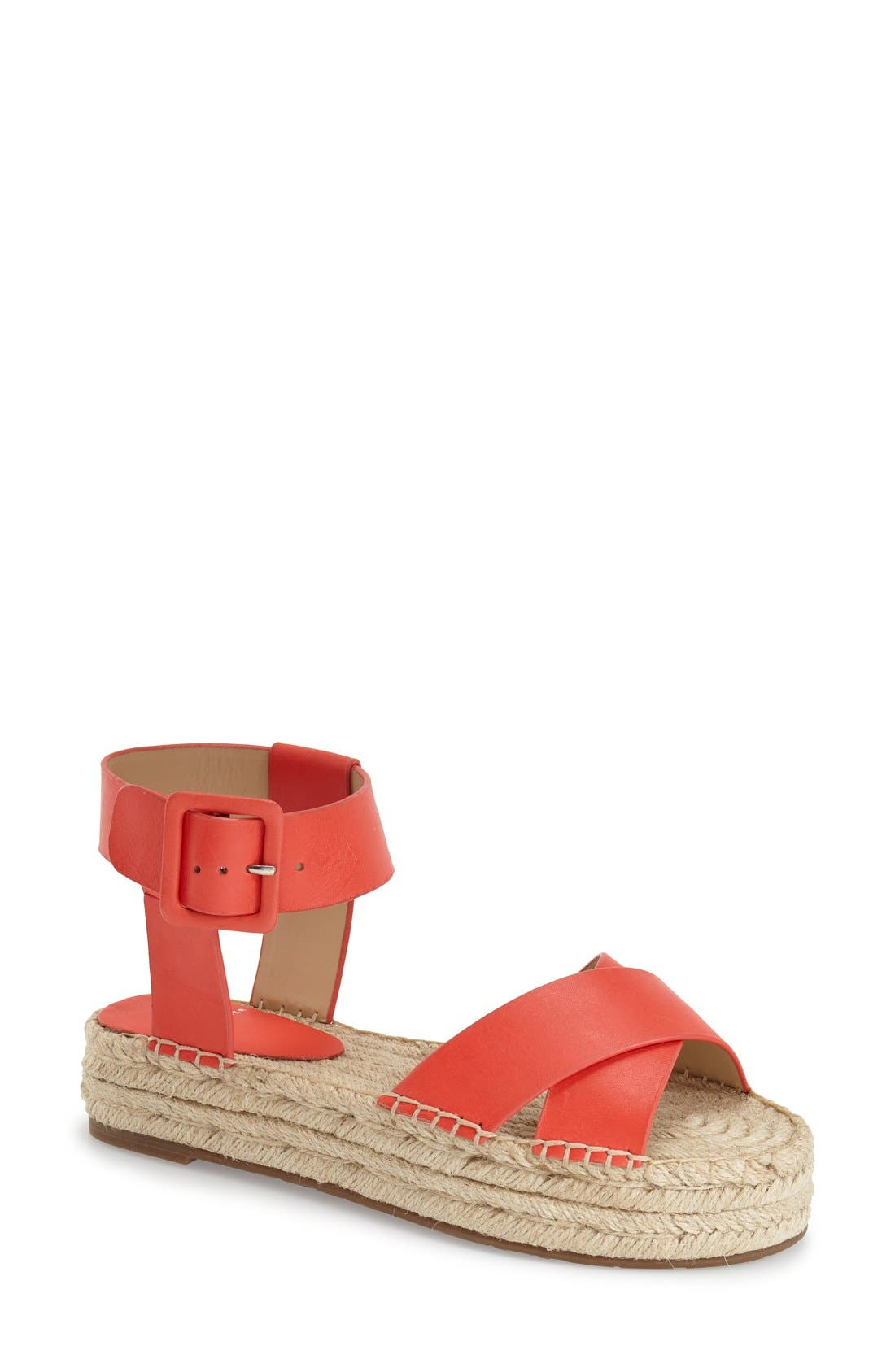'Vienna' Espadrille Sandal,                             Main thumbnail 1, color,                             Red Leather