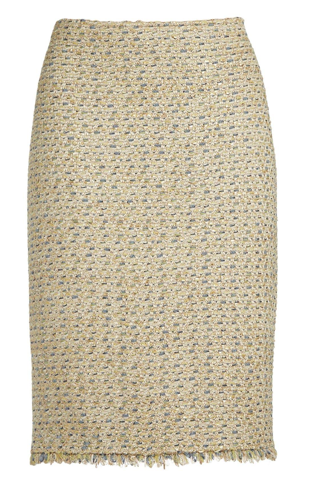 Alternate Image 4  - St. John Collection Fringe Trim Raffia Knit Pencil Skirt