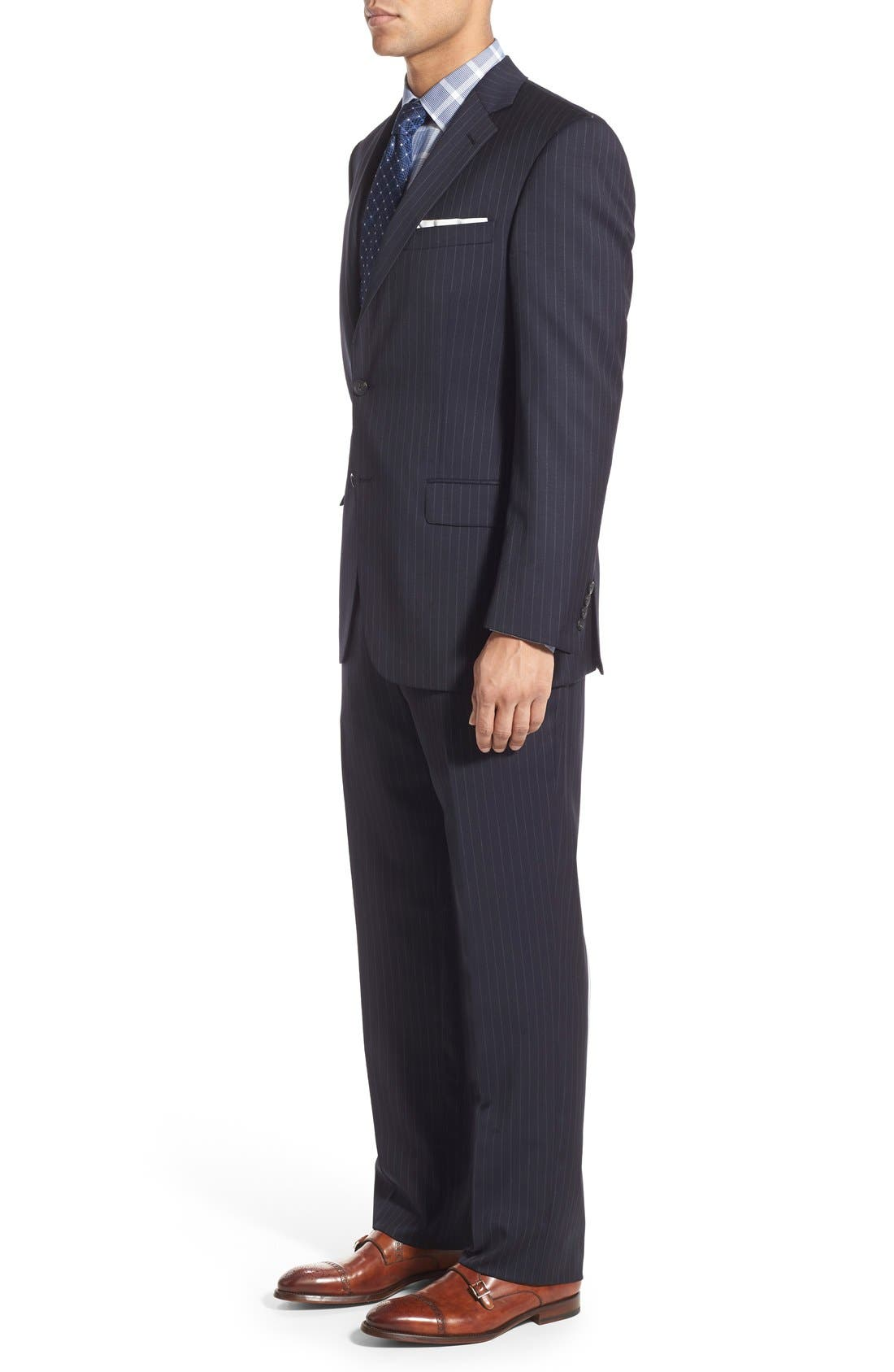 New York Classic Fit Stripe Wool Suit,                             Alternate thumbnail 7, color,                             Navy