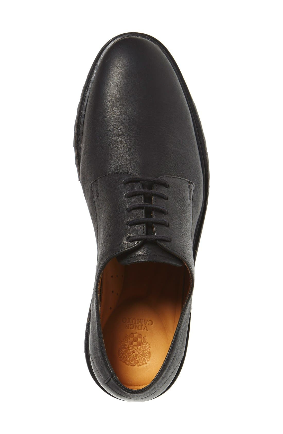 'Langdon' Derby,                             Alternate thumbnail 3, color,                             Black Tumbled Leather