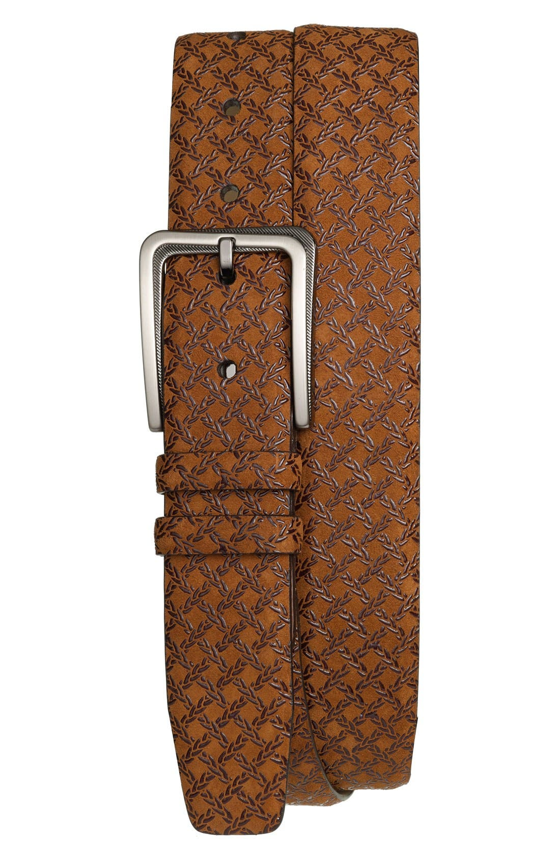 'Brill Ascot' Leather Belt,                             Main thumbnail 1, color,                             Tan