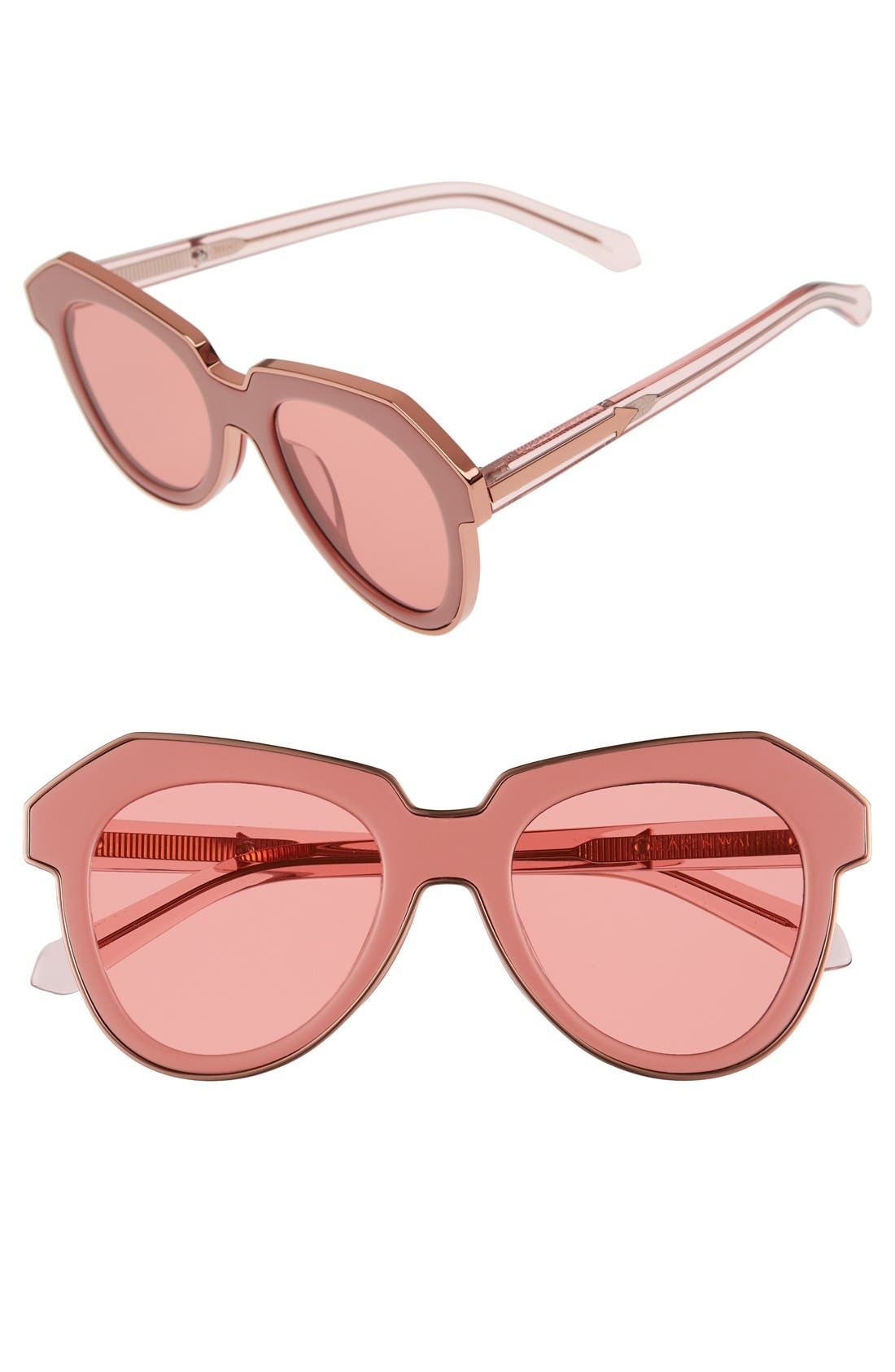 'One Astronaut - Arrowed by Karen' 49mm Sunglasses,                             Main thumbnail 1, color,                             Crystal Pink/ Rose Pink