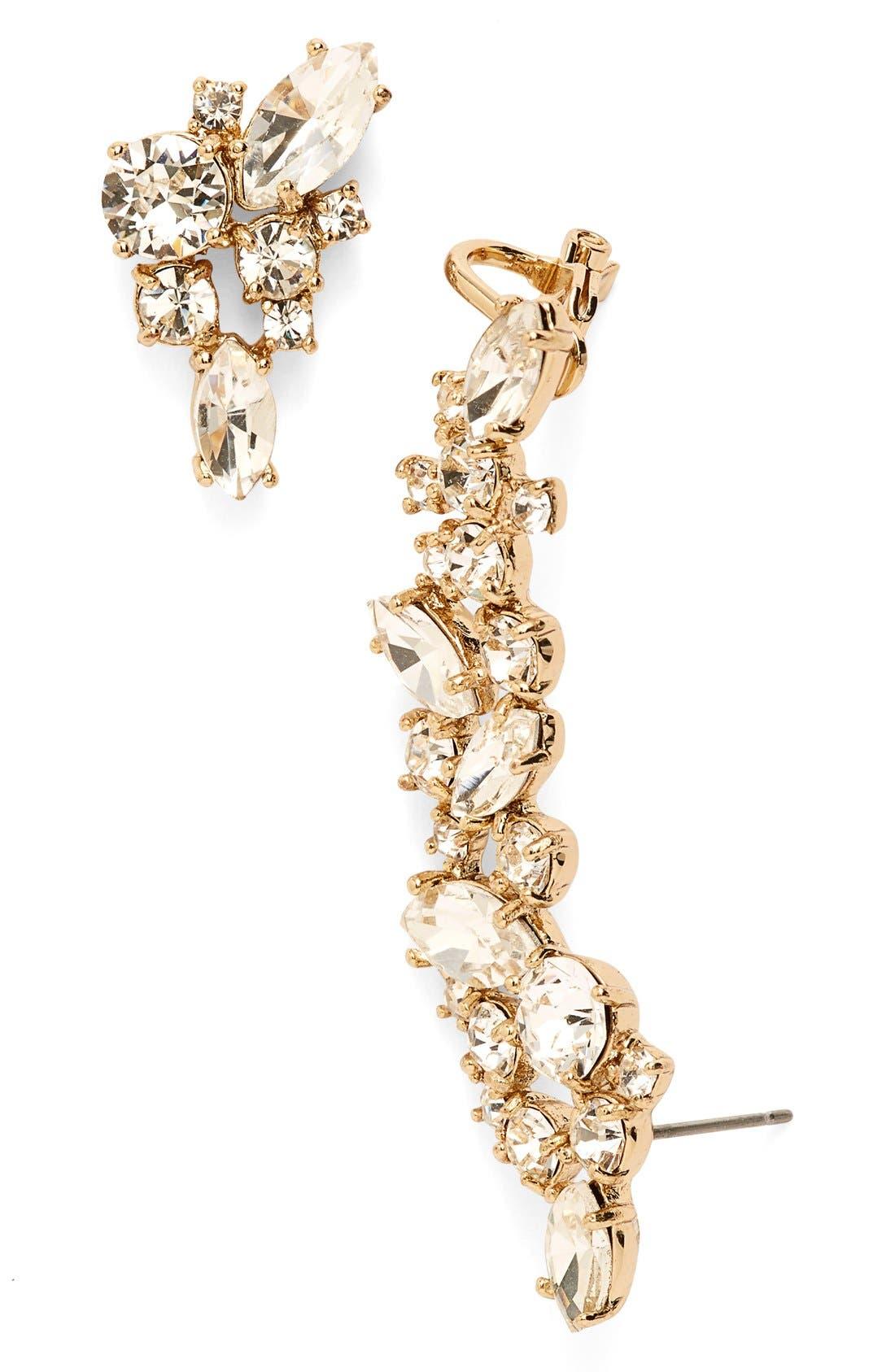 Main Image - Marchesa 'Drama' Crystal Ear Crawler & Stud Earring