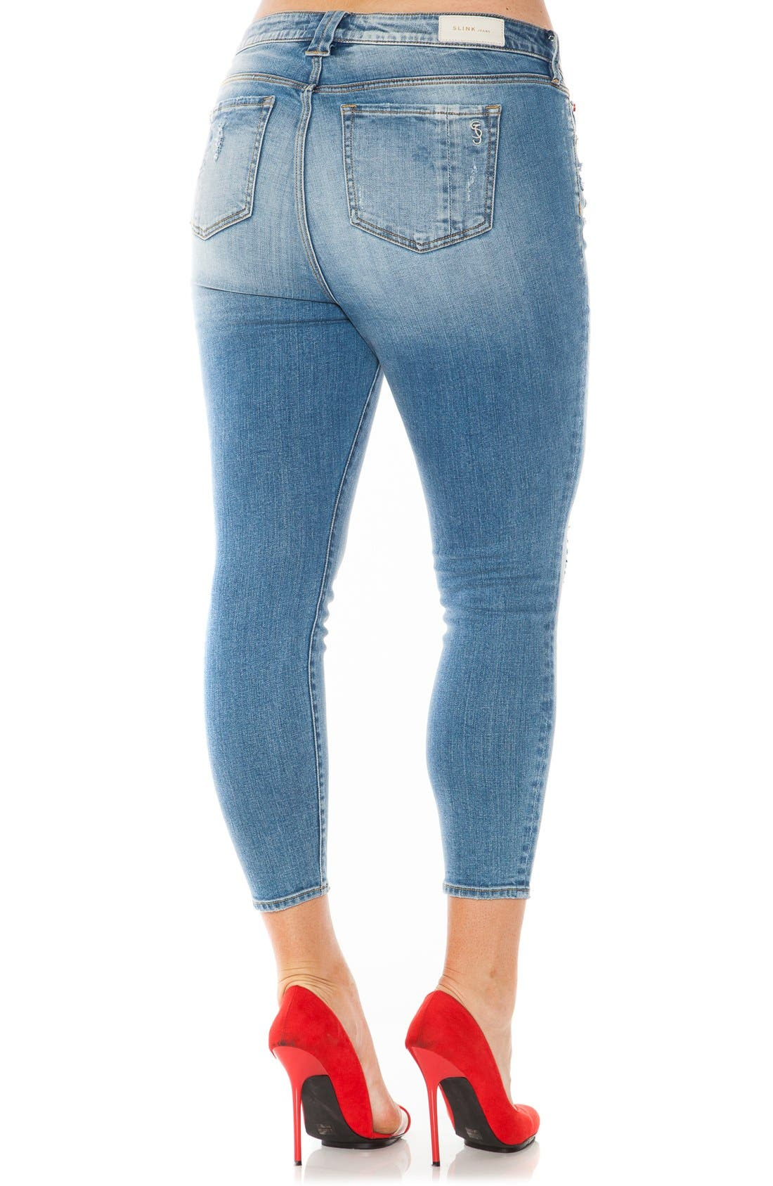 Distressed Stretch Ankle Skinny Jeans,                             Alternate thumbnail 2, color,                             Samantha