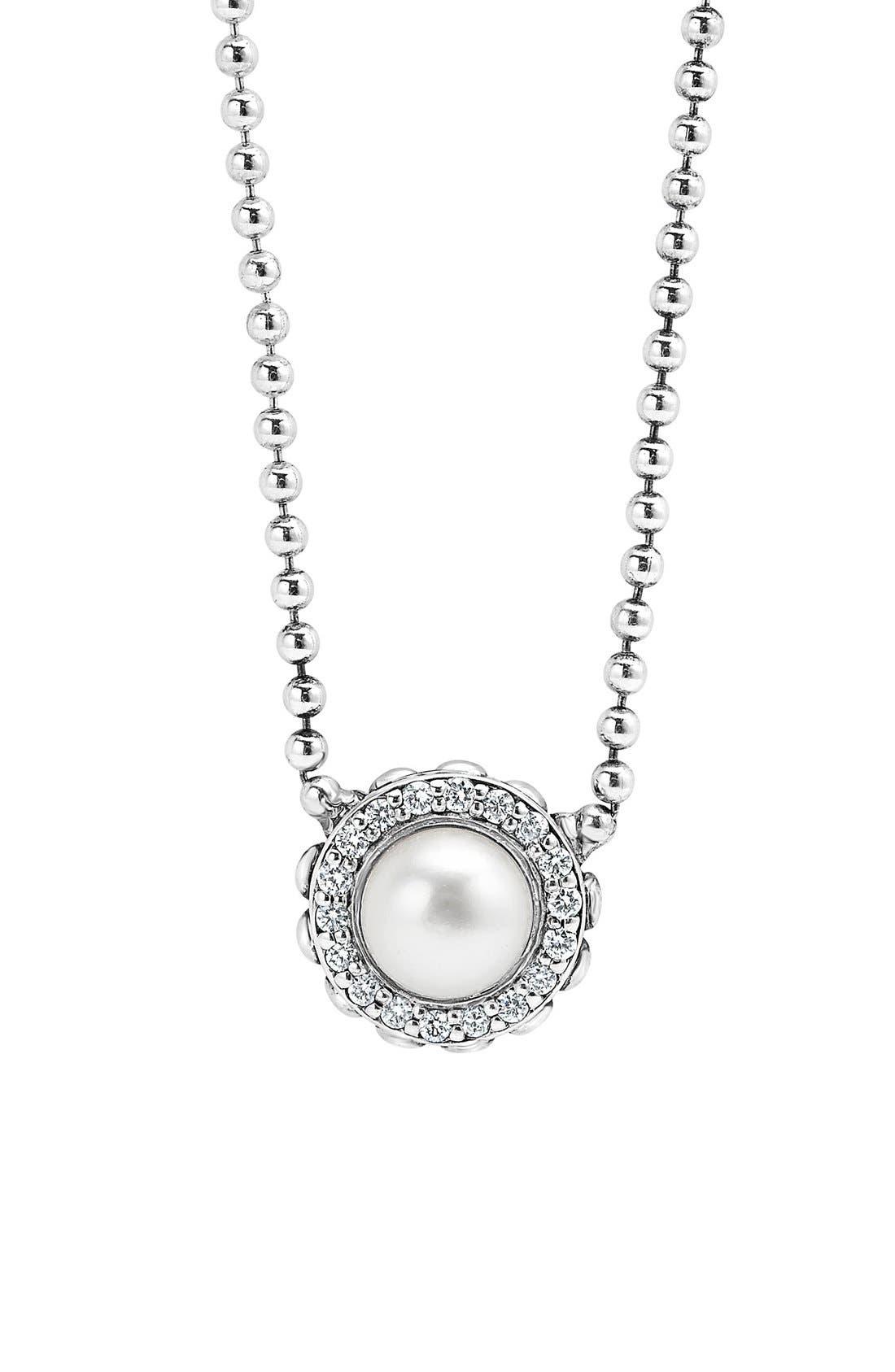 'Luna' Pearl & Diamond Pendant Necklace,                         Main,                         color, Silver/ Pearl