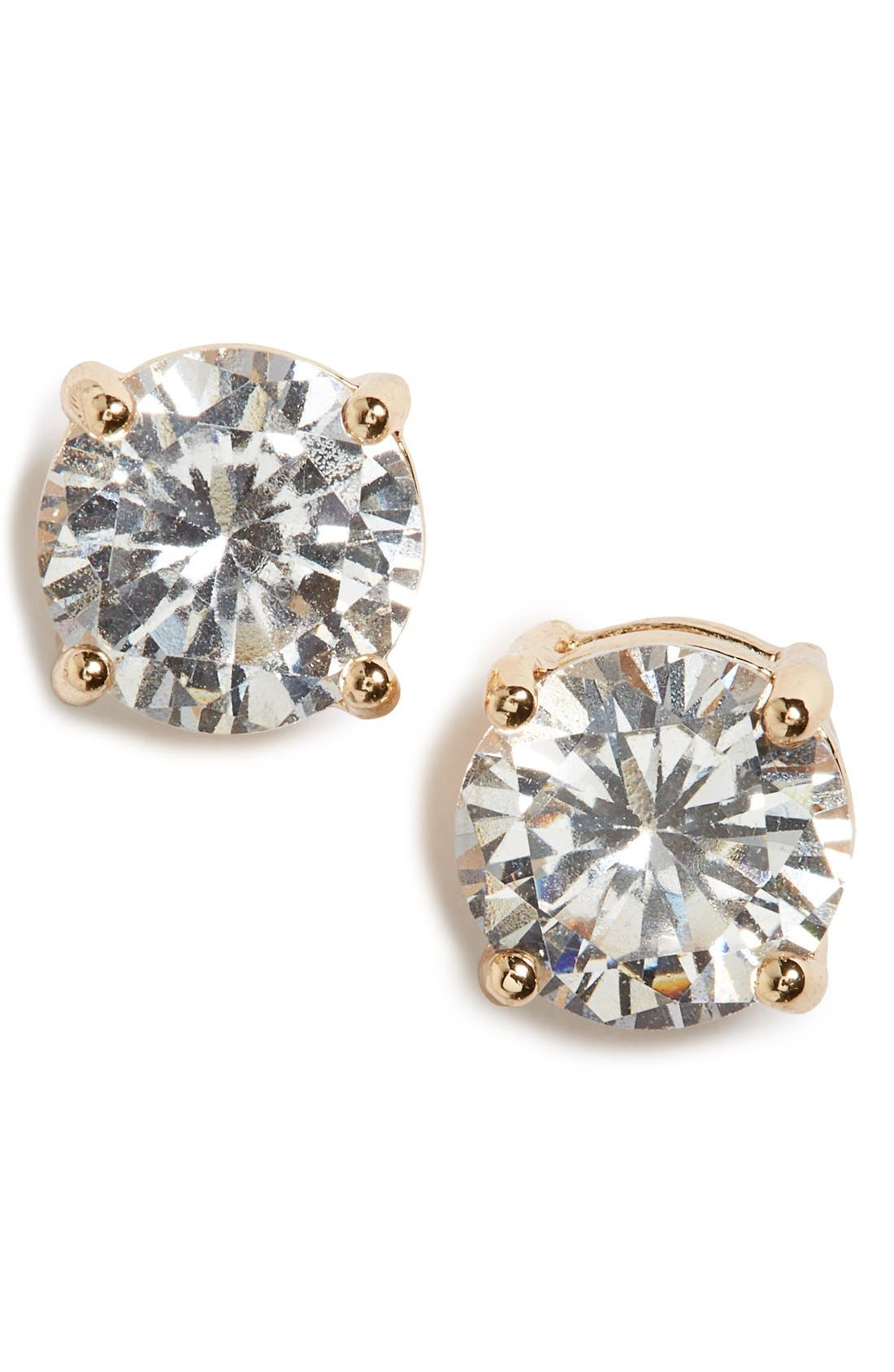 Cubic Zirconia Stud Earrings,                         Main,                         color, Gold/ Crystal