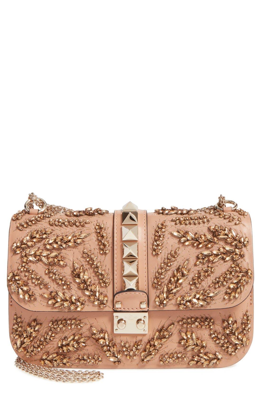 Alternate Image 1 Selected - Valentino 'Rockstud Embellished - Medium Lock' Leather Shoulder Bag