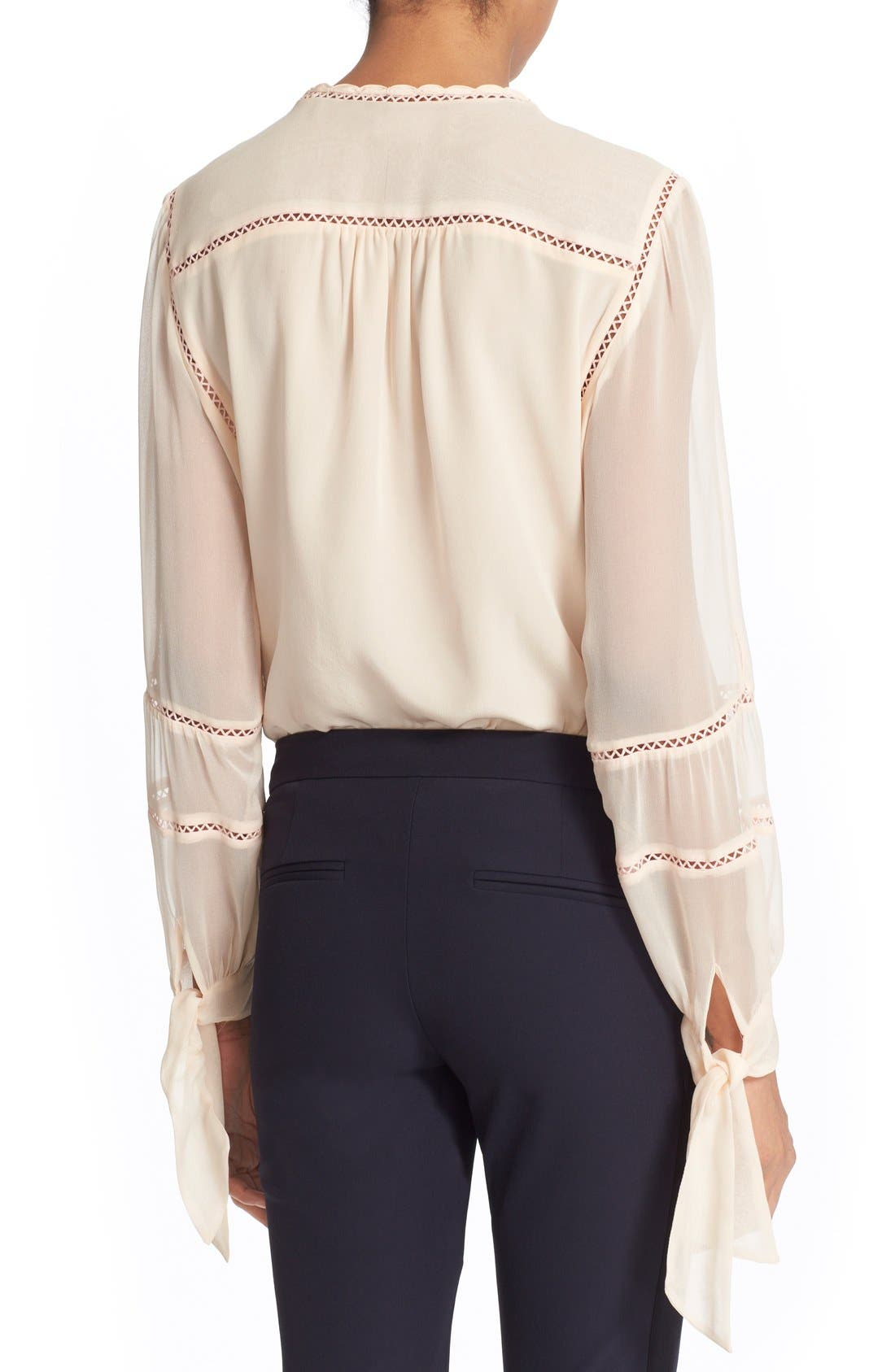 Alternate Image 2  - Rebecca Taylor Long Sleeve Silk Blouse