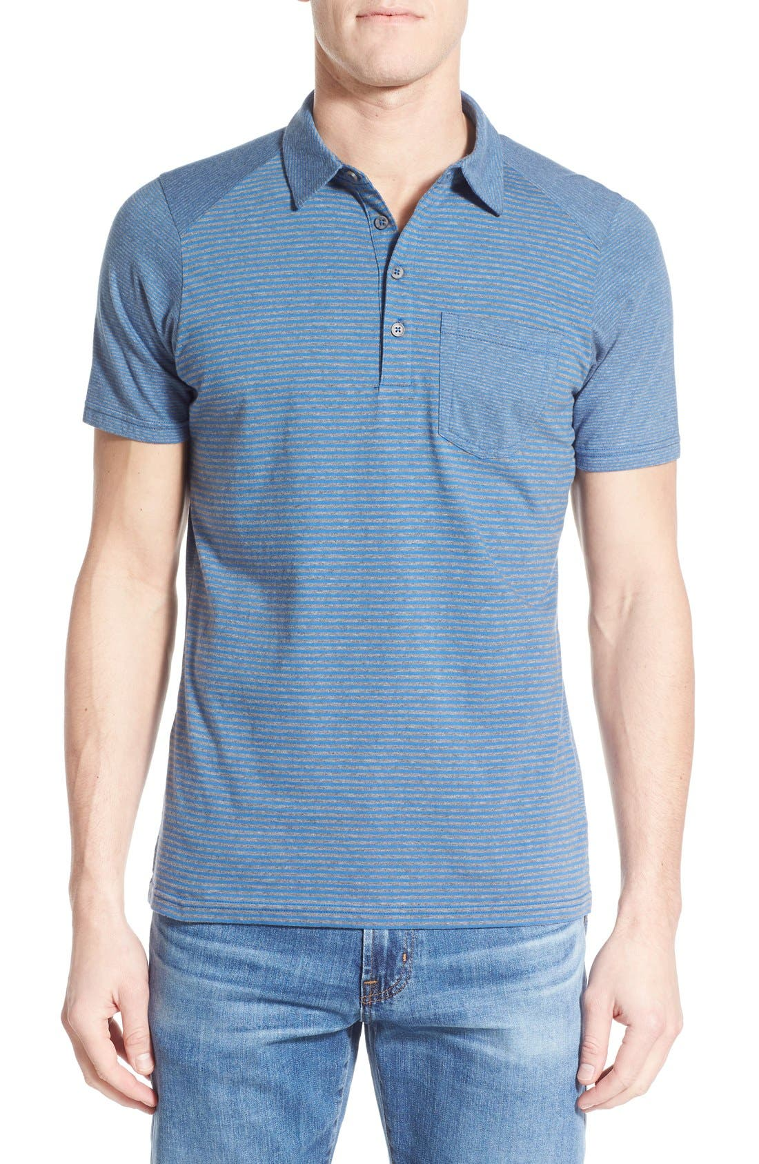Nau Genus Stripe Jersey Pocket Polo
