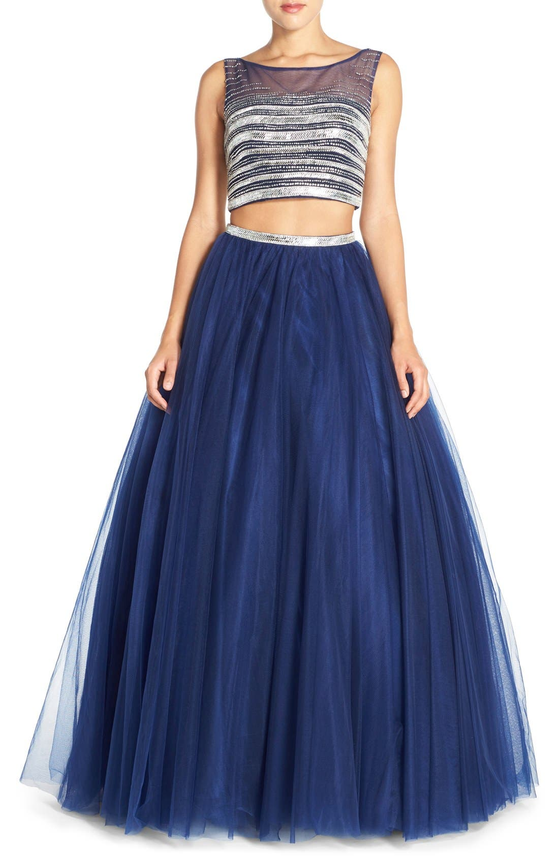 Main Image - JVN by Jovani Embellished Top & Mesh Two-Piece Ballgown