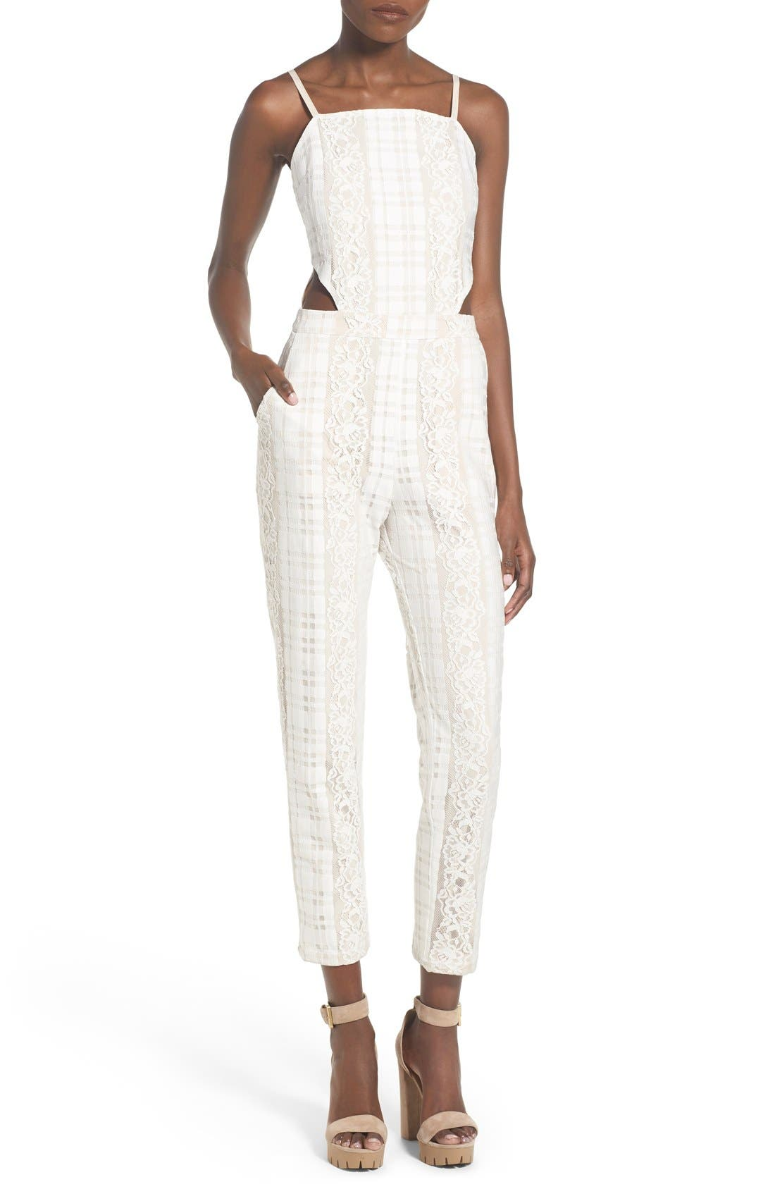 Alternate Image 1 Selected - Storee Cutout Lace Jumpsuit