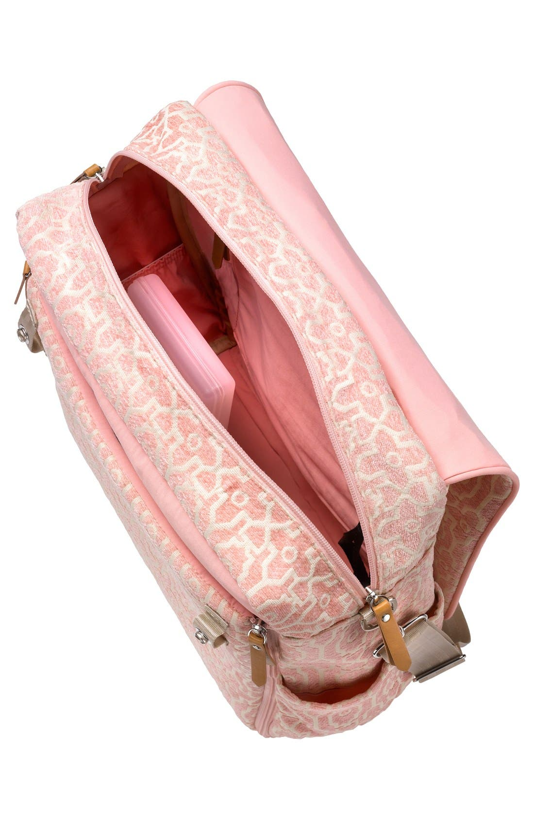 'Boxy' Chenille Convertible Diaper Backpack,                             Alternate thumbnail 3, color,                             Sweet Rose