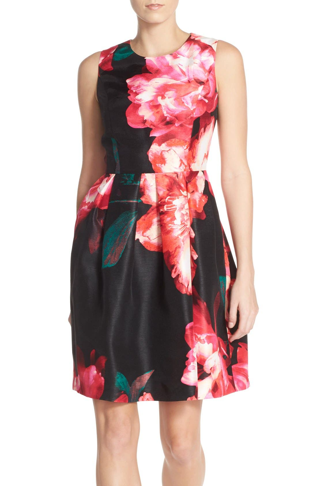 Main Image - Donna Ricco Floral Shantung Fit & Flare Dress
