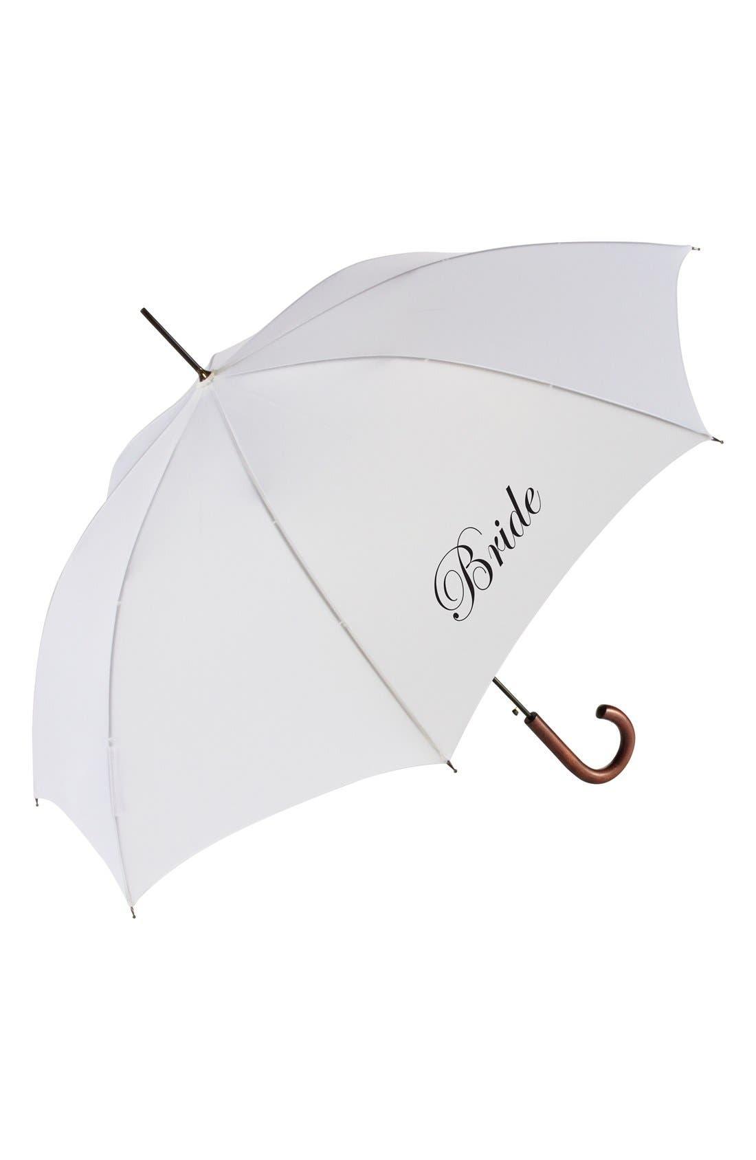 Wedding Day Auto Open Stick Umbrella,                         Main,                         color, Bride White