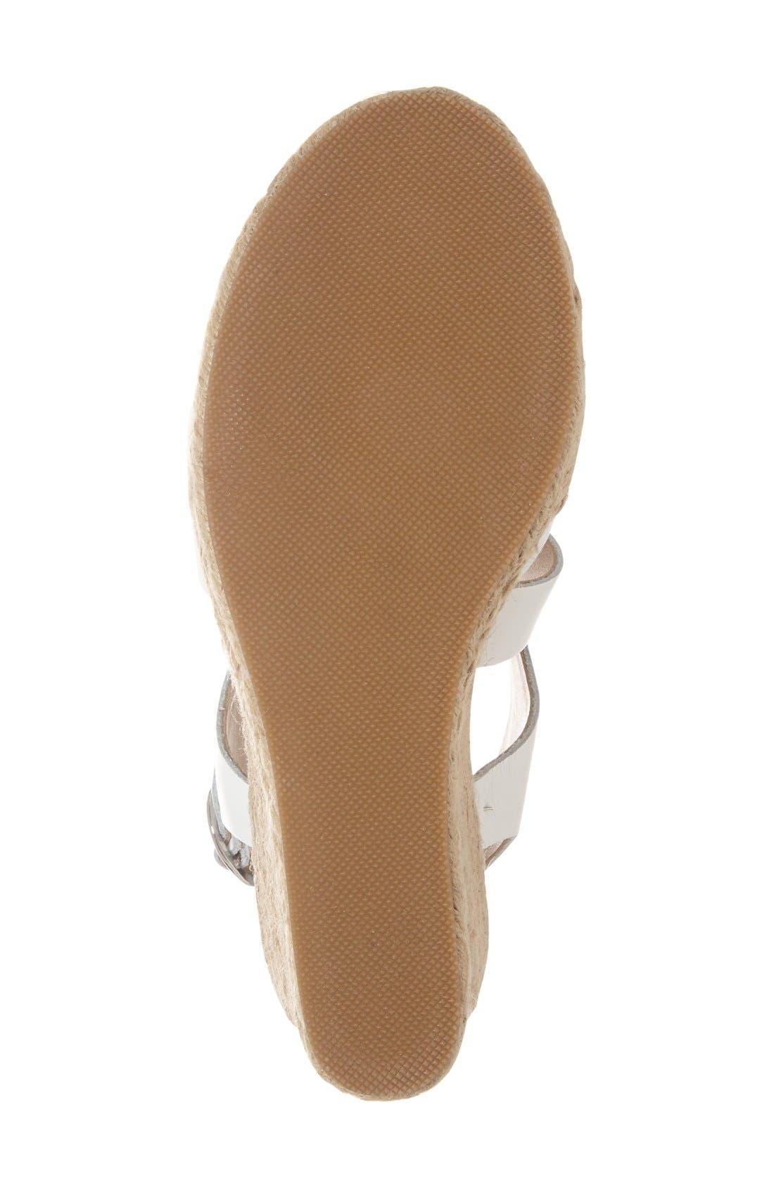 'Wavi' Espadrille Wedge Sandal,                             Alternate thumbnail 4, color,                             White Leather