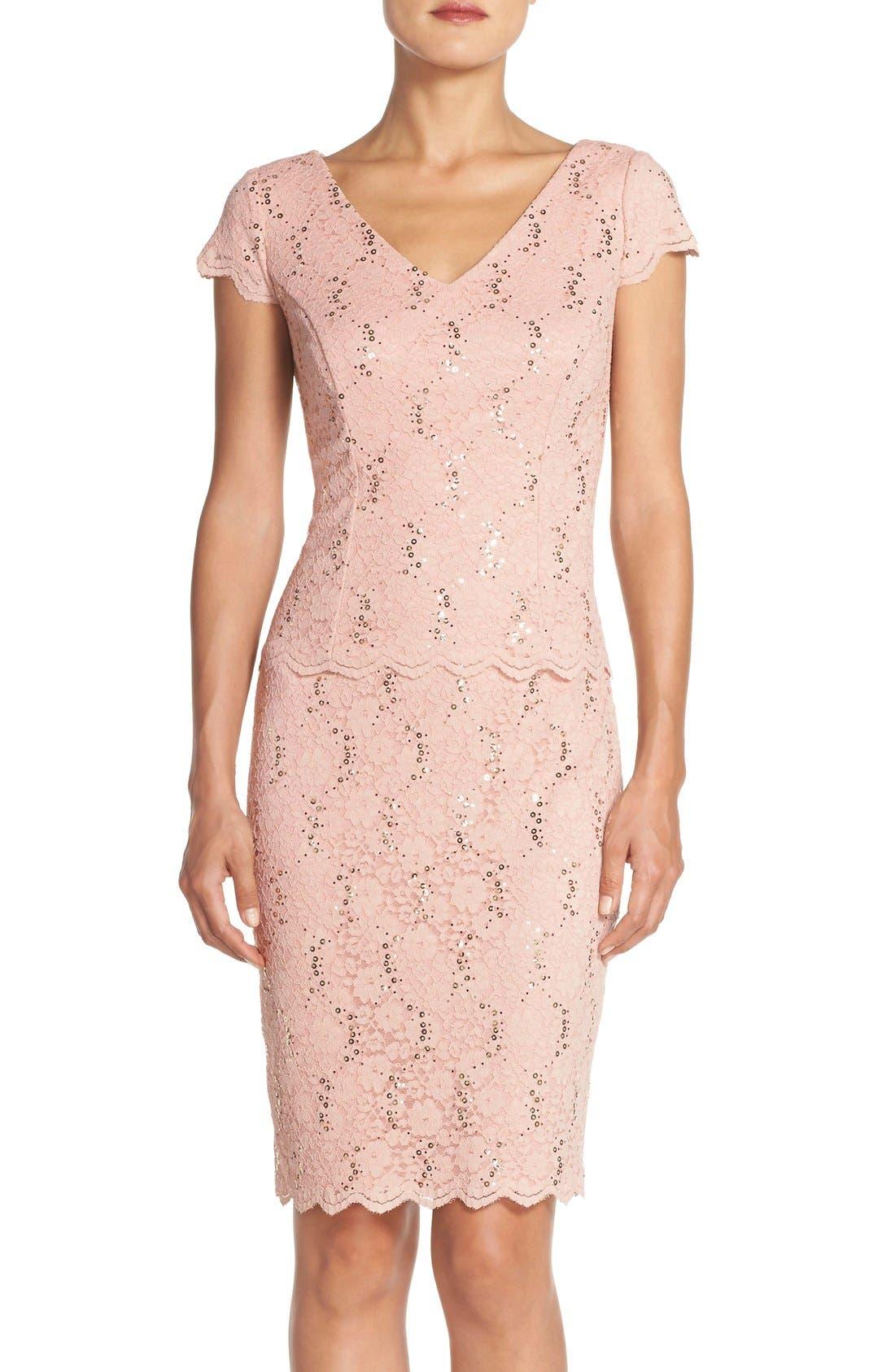 Main Image - Alex Evenings Embellished Lace Sheath Dress