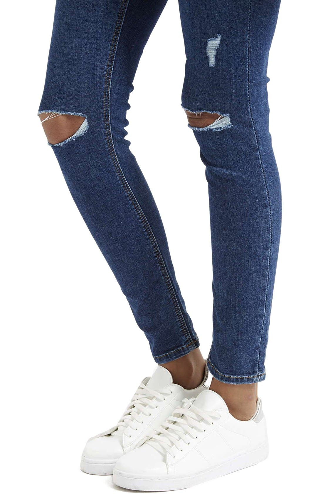 Alternate Image 5  - Topshop Moto 'Jamie' Distressed Skinny Jeans