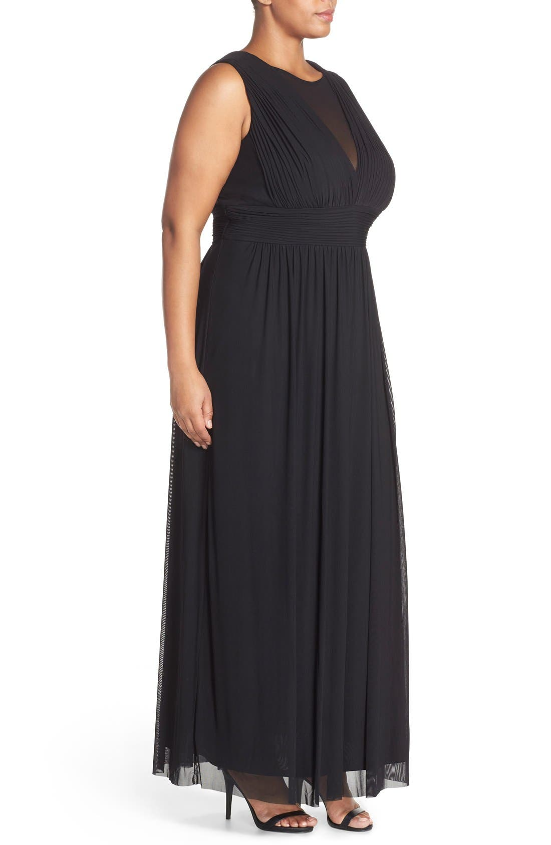 Alternate Image 3  - Marina Illusion Neck A-Line Gown (Plus Size)