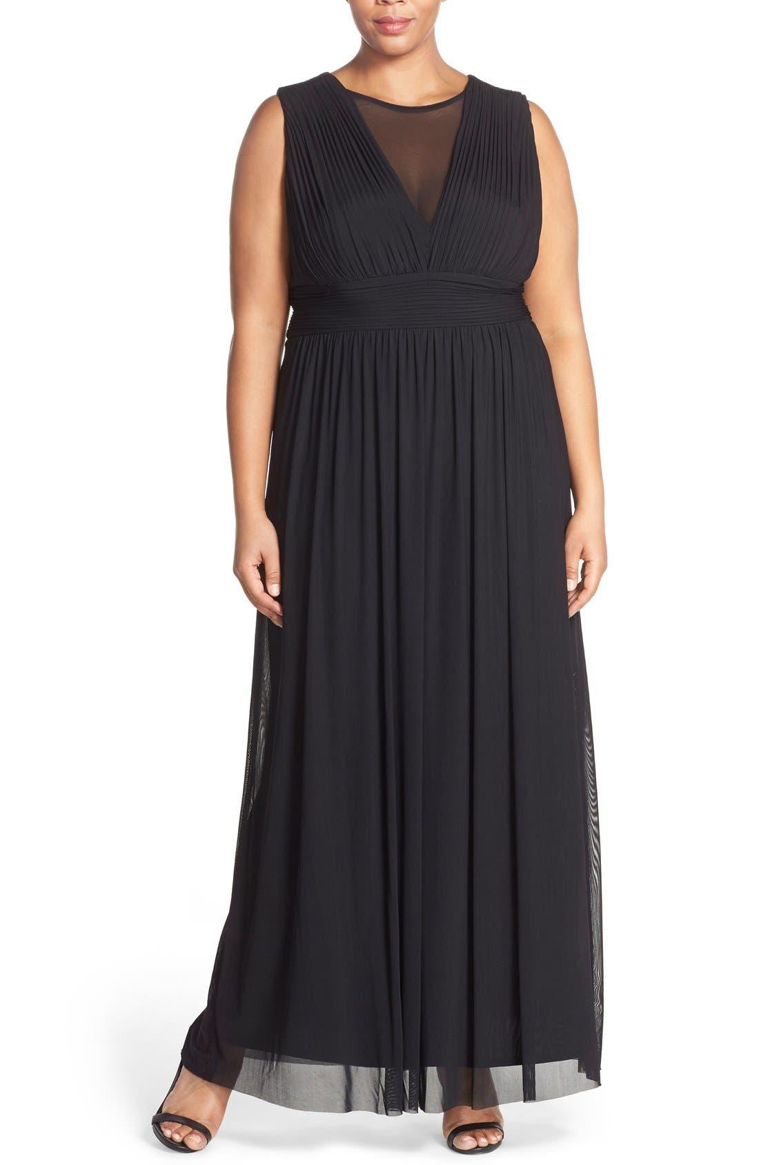 Illusion Neck A-Line Gown,                         Main,                         color, Black