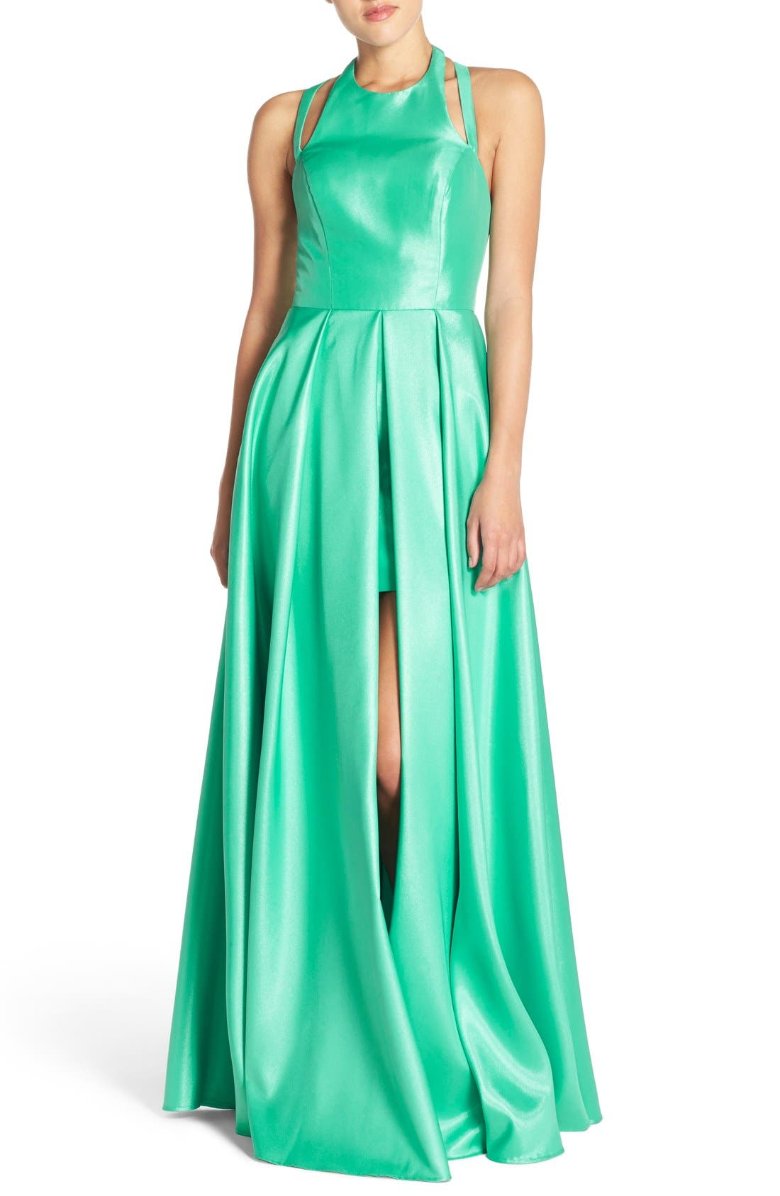 Shimmer Satin Halter Gown with Underskirt,                             Main thumbnail 1, color,                             Spearmint