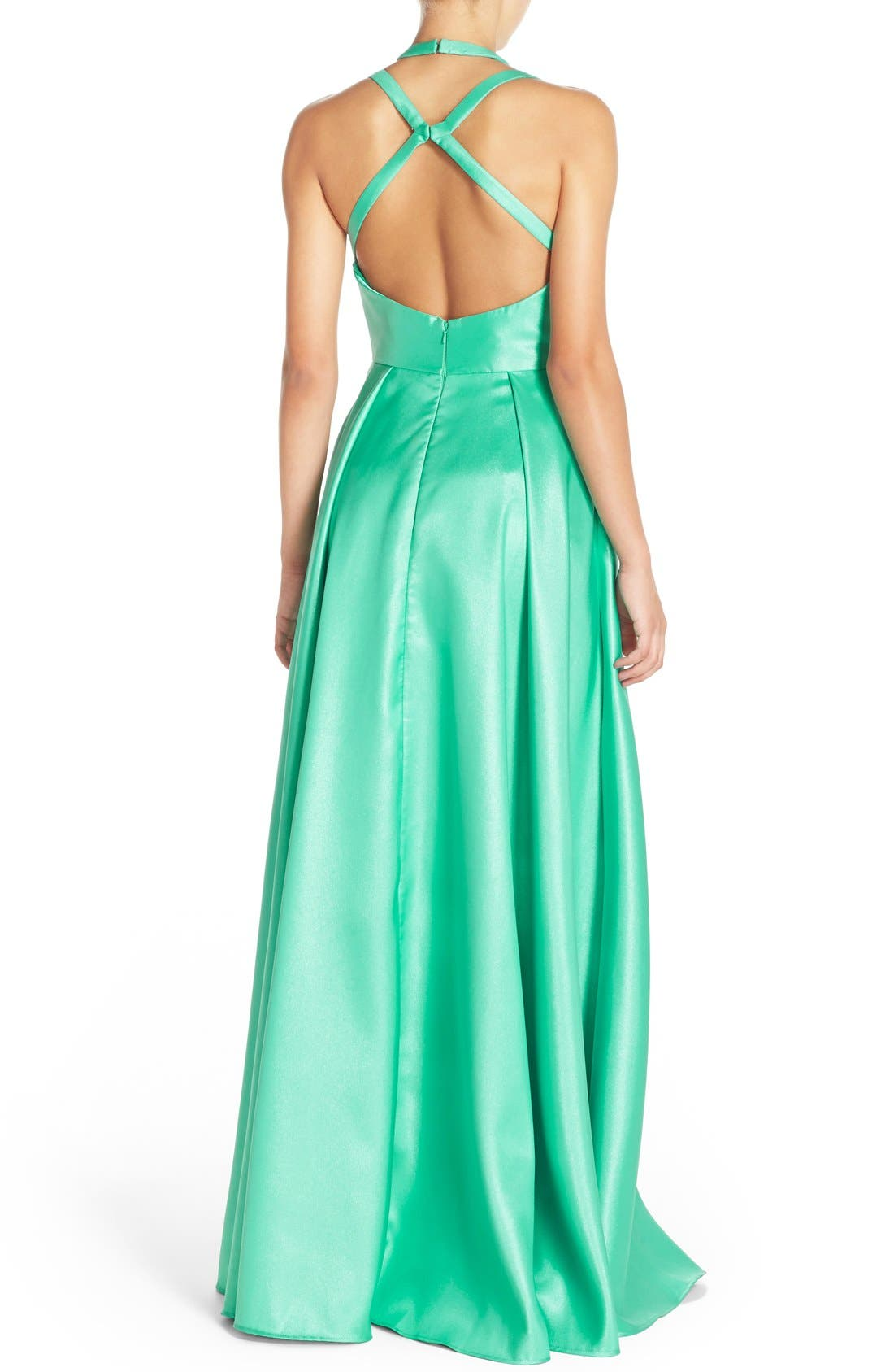Shimmer Satin Halter Gown with Underskirt,                             Alternate thumbnail 2, color,                             Spearmint