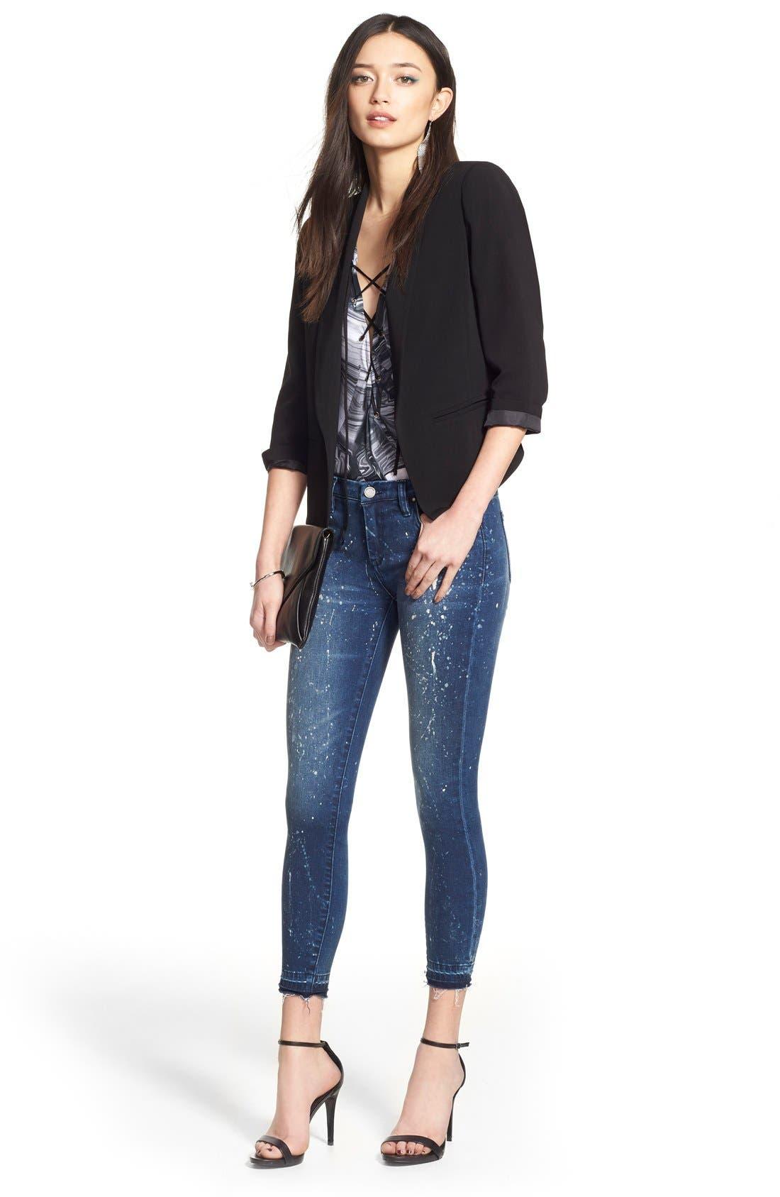 Alternate Image 2  - BLANKNYC Paint Splatter Crop Skinny Jeans (Reef Blower)
