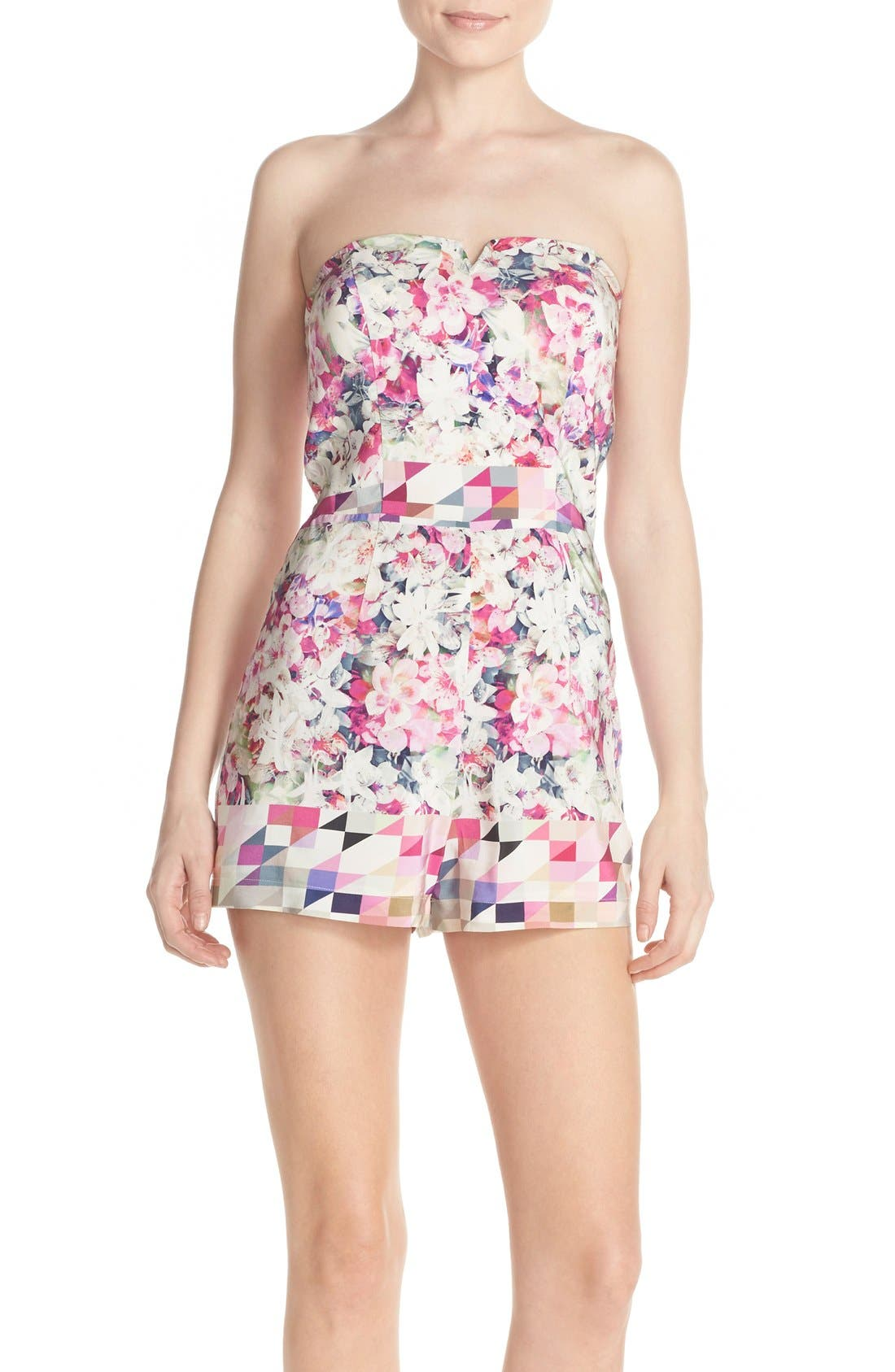 Alternate Image 1 Selected - Charlie Jade Print Strapless Silk Romper