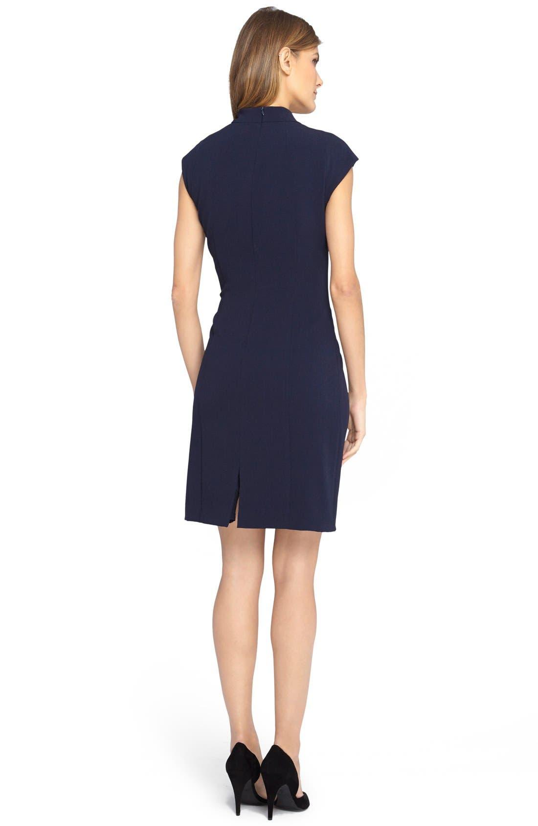 Alternate Image 2  - Tahari V-Neck Crepe Sheath Dress (Regular & Petite)