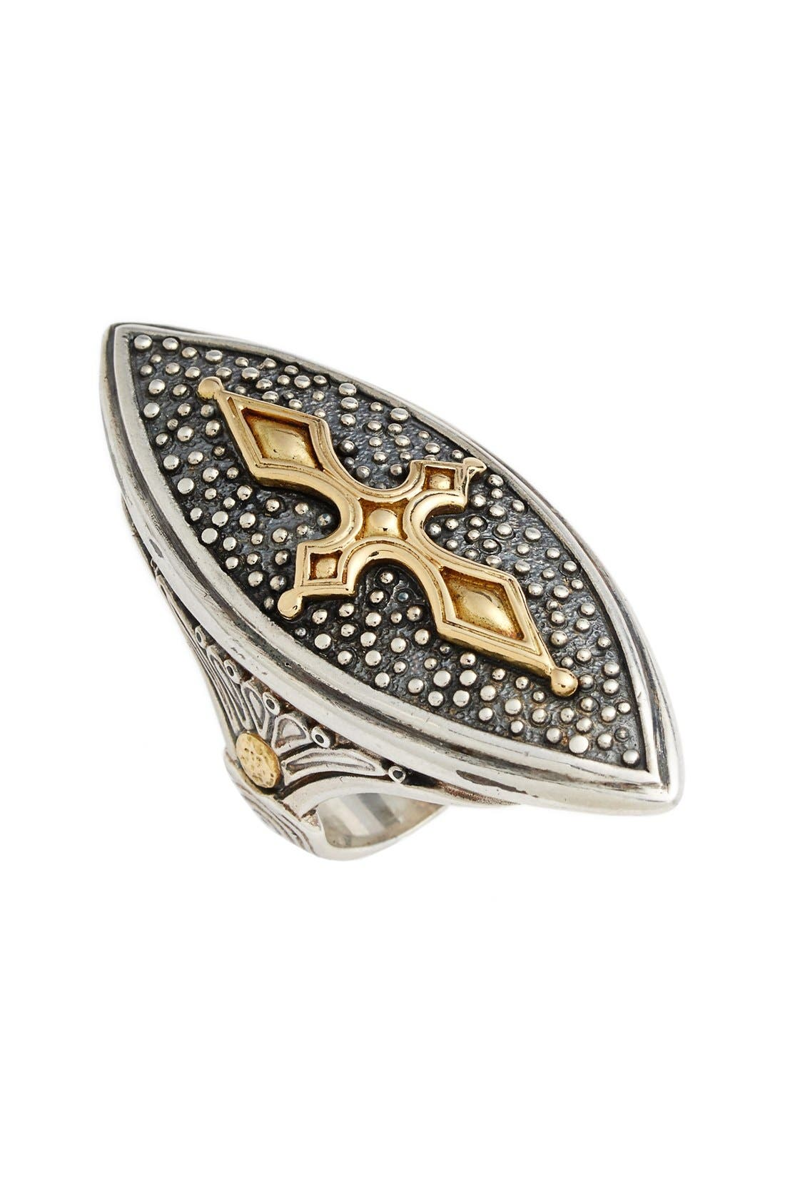 'Hebe' Marquise Cross Ring,                             Main thumbnail 1, color,                             Silver/ Gold