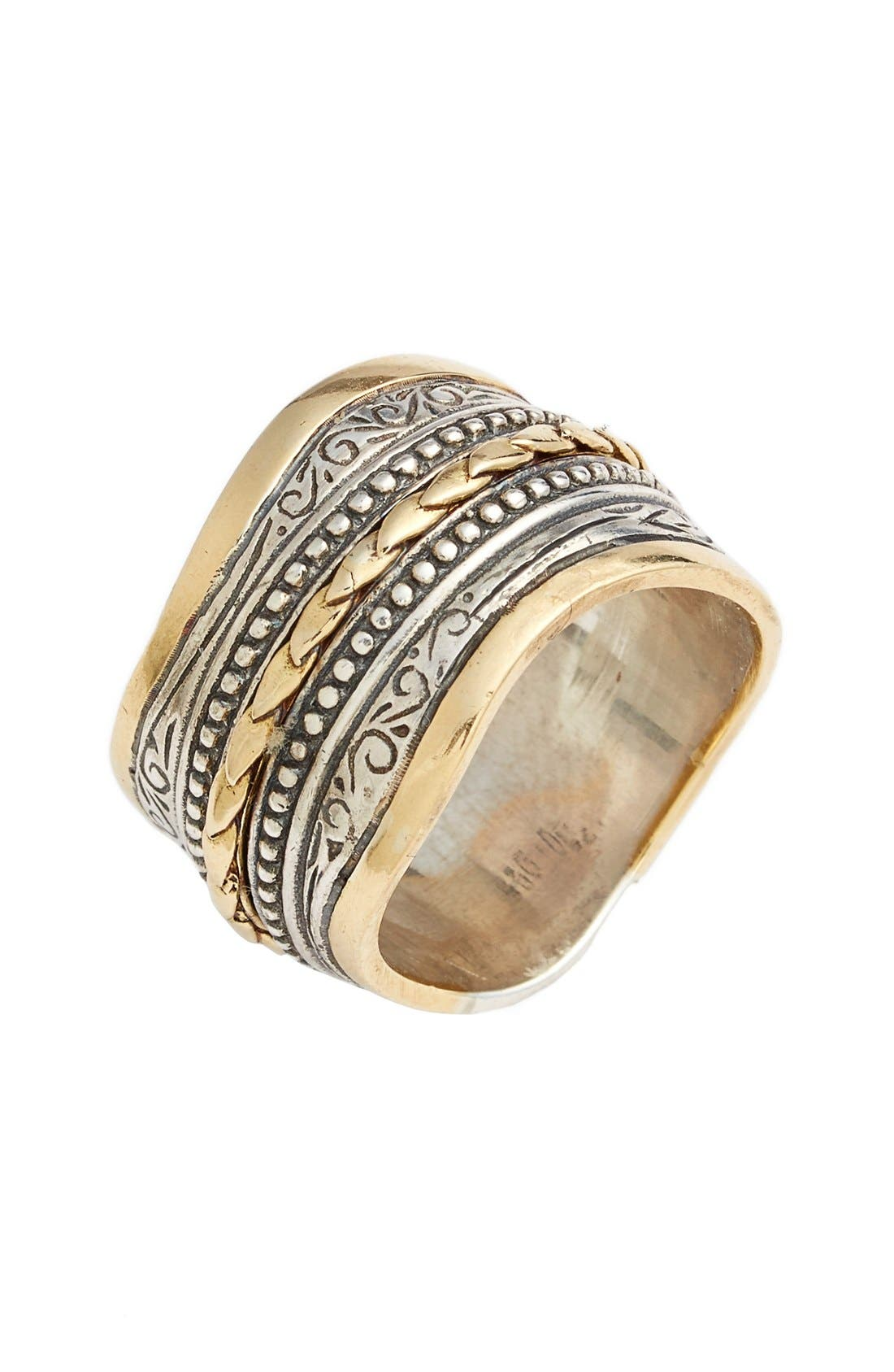'Hebe' Wavy Etched Band Ring,                             Main thumbnail 1, color,                             Silver/ Gold